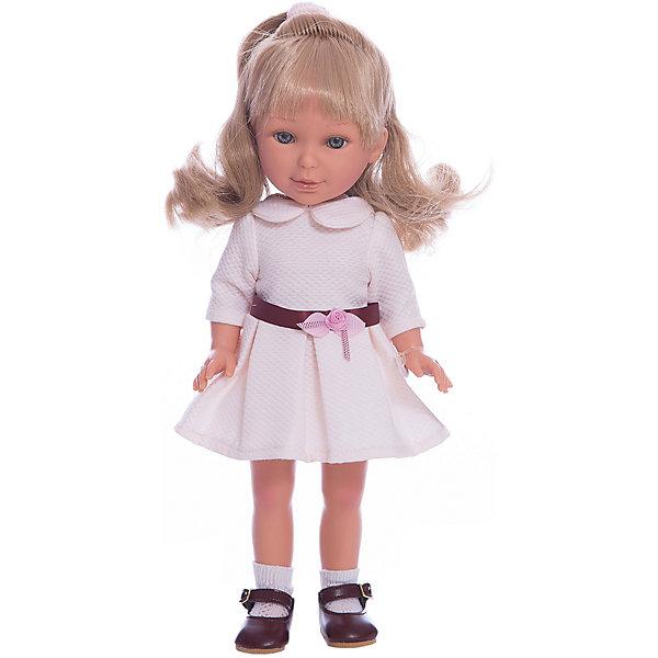 Кукла Паулина, блондинка волна, Весна Оксфорд, Vestida de AzulБренды кукол<br>Характеристики товара:<br><br>• возраст: от 3 лет;<br>• материал: винил, текстиль;<br>• в комплекте: кукла, наряд;<br>• высота куклы: 33 см;<br>• размер упаковки: 40х22,5х10,5 см;<br>• вес упаковки: 700 гр.;<br>• страна производитель: Испания.<br><br>Кукла Паулина блондинка волна «Весна Оксфорд» Vestida de Azul одета в белое платье с воротничком, украшенное поясом и цветком. У Паулины милое личико с большими живыми глазками, щечками с легким румянцем. Светлые кудрявые волосы очень похожи на натуральные. Девочка сможет расчесывать их, укладывать, заплетать, придумывая кукле разнообразные прически.<br><br>Куклу Паулину блондинка волна «Весна Оксфорд» Vestida de Azul можно приобрести в нашем интернет-магазине.<br><br>Ширина мм: 225<br>Глубина мм: 105<br>Высота мм: 405<br>Вес г: 700<br>Возраст от месяцев: 36<br>Возраст до месяцев: 2147483647<br>Пол: Женский<br>Возраст: Детский<br>SKU: 6844340