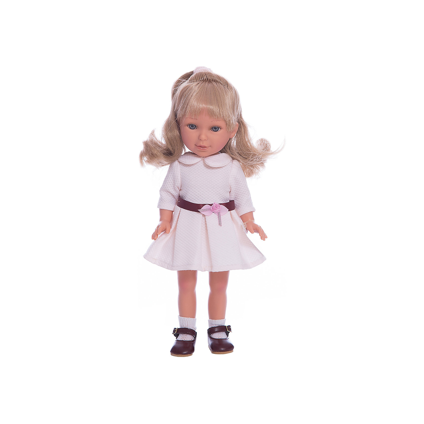 Кукла Паулина, блондинка волна, Весна Оксфорд, Vestida de AzulКлассические куклы<br>Характеристики товара:<br><br>• возраст: от 3 лет;<br>• материал: винил, текстиль;<br>• в комплекте: кукла, наряд;<br>• высота куклы: 33 см;<br>• размер упаковки: 40х22,5х10,5 см;<br>• вес упаковки: 700 гр.;<br>• страна производитель: Испания.<br><br>Кукла Паулина блондинка волна «Весна Оксфорд» Vestida de Azul одета в белое платье с воротничком, украшенное поясом и цветком. У Паулины милое личико с большими живыми глазками, щечками с легким румянцем. Светлые кудрявые волосы очень похожи на натуральные. Девочка сможет расчесывать их, укладывать, заплетать, придумывая кукле разнообразные прически.<br><br>Куклу Паулину блондинка волна «Весна Оксфорд» Vestida de Azul можно приобрести в нашем интернет-магазине.<br><br>Ширина мм: 225<br>Глубина мм: 105<br>Высота мм: 405<br>Вес г: 700<br>Возраст от месяцев: 36<br>Возраст до месяцев: 2147483647<br>Пол: Женский<br>Возраст: Детский<br>SKU: 6844340