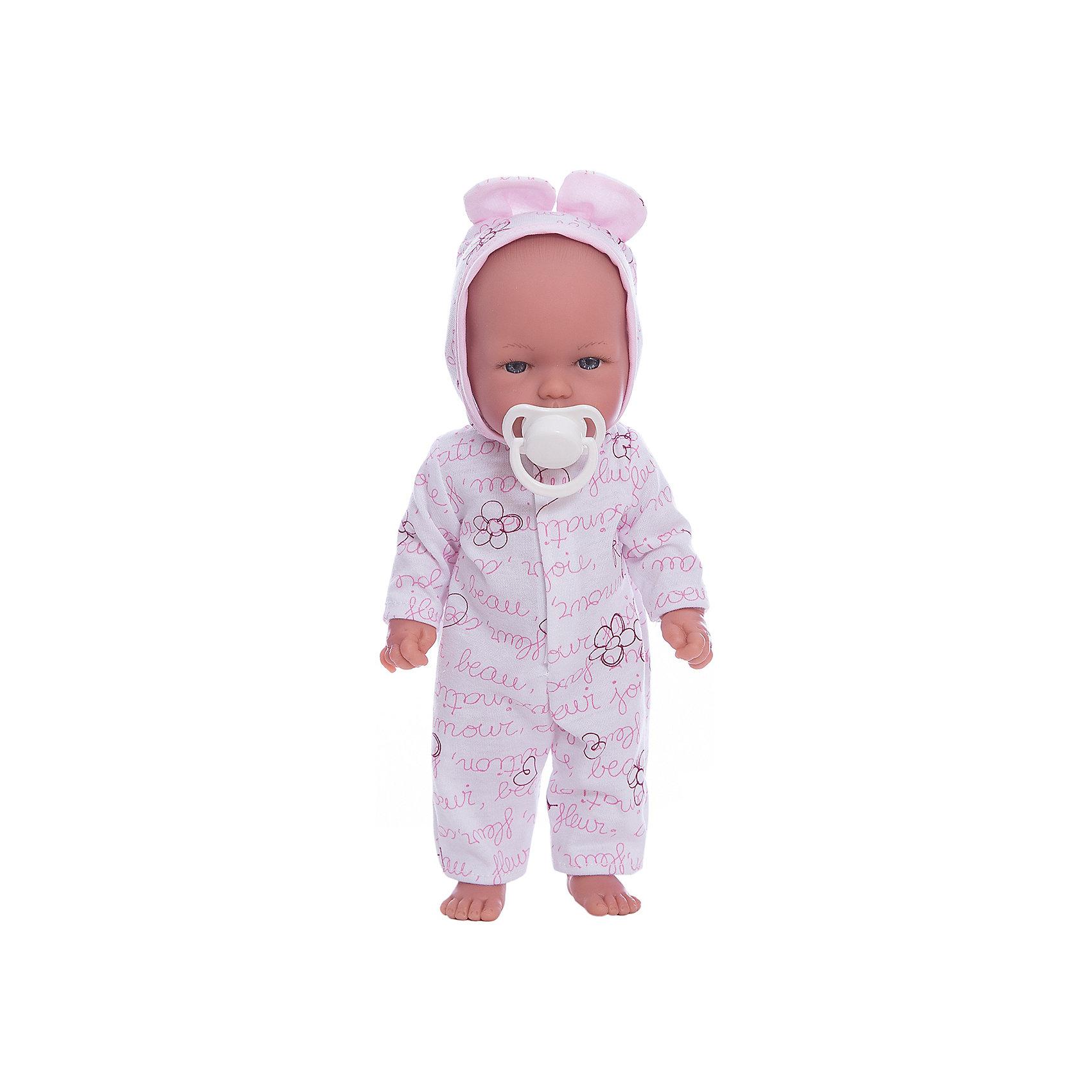 Кукла Оливия в пижамке, умеет стоять, серия soft touch, Vestida de AzulБренды кукол<br>Характеристики товара:<br><br>• возраст: от 3 лет;<br>• материал: винил, текстиль;<br>• в комплекте: кукла, пижама, соска;<br>• высота куклы: 30 см;<br>• размер упаковки: 34х14х8 см;<br>• вес упаковки: 460 гр.;<br>• страна производитель: Испания.<br><br>Кукла Оливия в пижамке Soft Touch Vestida de Azul — Маленький пупс большими глазками и пухлыми щечками. Оливия одета в пижамку с цветами и капюшоном. У куклы подвижные руки и ноги, она умеет самостоятельно стоять. Игра с куклой привьет девочке чувство ответственности, любви, заботы. <br><br>Куклу Оливию в пижамке Soft Touch Vestida de Azul можно приобрести в нашем интернет-магазине.<br><br>Ширина мм: 380<br>Глубина мм: 120<br>Высота мм: 240<br>Вес г: 650<br>Возраст от месяцев: 36<br>Возраст до месяцев: 2147483647<br>Пол: Женский<br>Возраст: Детский<br>SKU: 6844342