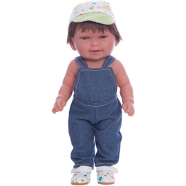 Кукла Мико в джинсовом комбинезоне, умеет стоять, серия soft touch, Vestida de AzulКуклы<br>Характеристики товара:<br><br>• возраст: от 3 лет;<br>• материал: винил, текстиль;<br>• в комплекте: кукла, комбинезон, кепка;<br>• высота куклы: 30 см;<br>• размер упаковки: 34х14х8 см;<br>• вес упаковки: 375 гр.;<br>• страна производитель: Испания.<br><br>Кукла Мико в джинсовом комбинезоне Soft Touch Vestida de Azul — очаровательный карапуз с пухлыми щечками и большими выразительными глазками. Мико одет в джинсовый комбинезон, кроссовки и кепку. У куклы мягкие короткие волосы очень похожие на натуральные. У куклы подвижные руки и ноги, она умеет самостоятельно стоять. Игра с пупсом привьет девочке чувство ответственности, любви, заботы. <br><br>Куклу Мико в джинсовом комбинезоне Soft Touch Vestida de Azul можно приобрести в нашем интернет-магазине.<br><br>Ширина мм: 380<br>Глубина мм: 120<br>Высота мм: 240<br>Вес г: 650<br>Возраст от месяцев: 36<br>Возраст до месяцев: 2147483647<br>Пол: Женский<br>Возраст: Детский<br>SKU: 6844344
