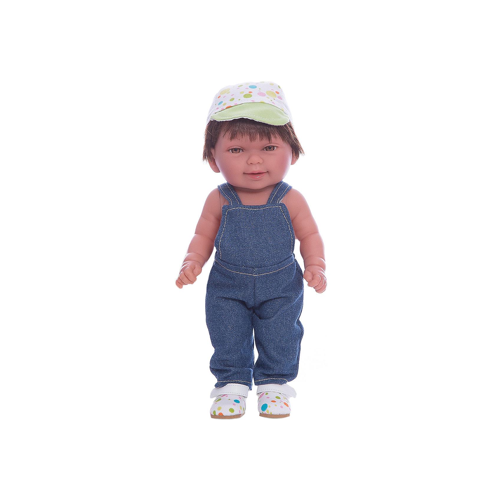 Кукла Мико в джинсовом комбинезоне, умеет стоять, серия soft touch, Vestida de AzulКлассические куклы<br>Характеристики товара:<br><br>• возраст: от 3 лет;<br>• материал: винил, текстиль;<br>• в комплекте: кукла, комбинезон, кепка;<br>• высота куклы: 30 см;<br>• размер упаковки: 34х14х8 см;<br>• вес упаковки: 375 гр.;<br>• страна производитель: Испания.<br><br>Кукла Мико в джинсовом комбинезоне Soft Touch Vestida de Azul — очаровательный карапуз с пухлыми щечками и большими выразительными глазками. Мико одет в джинсовый комбинезон, кроссовки и кепку. У куклы мягкие короткие волосы очень похожие на натуральные. У куклы подвижные руки и ноги, она умеет самостоятельно стоять. Игра с пупсом привьет девочке чувство ответственности, любви, заботы. <br><br>Куклу Мико в джинсовом комбинезоне Soft Touch Vestida de Azul можно приобрести в нашем интернет-магазине.<br><br>Ширина мм: 380<br>Глубина мм: 120<br>Высота мм: 240<br>Вес г: 650<br>Возраст от месяцев: 36<br>Возраст до месяцев: 2147483647<br>Пол: Женский<br>Возраст: Детский<br>SKU: 6844344