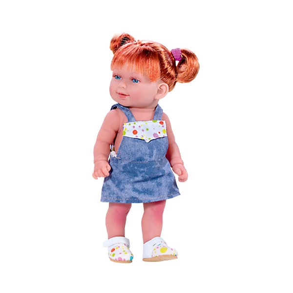 Кукла Кина в джинсовом комбинезоне, умеет стоять, серия soft touch, Vestida de AzulКуклы<br>Характеристики товара:<br><br>• возраст: от 3 лет;<br>• материал: винил, текстиль;<br>• в комплекте: кукла, платье;<br>• высота куклы: 30 см;<br>• размер упаковки: 34х14х8 см;<br>• вес упаковки: 495 гр.;<br>• страна производитель: Испания.<br><br>Кукла Кина в джинсовом комбинезоне Soft Touch Vestida de Azul — очаровательная малышка с пухлыми щечками и большими выразительными глазками. Кина одета в джинсовое платье и разноцветные туфельки. У Кины рыжие волосы, завязанные в хвостики. Волосы очень похожи на натуральные, их можно расчесывать, украшать, заплетать. У куклы подвижные руки и ноги, она умеет самостоятельно стоять. Игра с пупсом привьет девочке чувство ответственности, любви, заботы. <br><br>Куклу Кину в джинсовом комбинезоне Soft Touch Vestida de Azul можно приобрести в нашем интернет-магазине.<br>Ширина мм: 380; Глубина мм: 120; Высота мм: 240; Вес г: 650; Возраст от месяцев: 36; Возраст до месяцев: 2147483647; Пол: Женский; Возраст: Детский; SKU: 6844345;