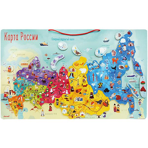 Карта России с магнитными пазлами, 90 элементов, JanodАтласы и карты<br>Характеристики:<br><br>• возраст: от 3 лет<br>• комплектация: карта России, магнитные пазлы 90 шт.<br>• размер карты: 77х34х1 см.<br>• материал: дерево<br><br>Красочный и увлекательный развивающий пазл с магнитными элементами Карта России станет замечательным помощником в изучении географии.<br>На карте изображено политическое деление (федеральные округа и субъекты РФ), а также особенности местности (водоемы, горные системы и пр.). <br><br>Карта нанесена на большой деревянный планшет, который можно повесить на стену в детской комнате. На элементах пазла изображены ключевые города регионов и их достопримечательности. Каждый пазл сделан из дерева со спрятанным внутри магнитным соединителем.<br><br>Карта России с магнитными пазлами предназначена для развития у детей логического и образного мышления, памяти, познавательных способностей.<br><br>Карту России с магнитными пазлами, 90 элементов, Janod (Дженод) можно купить в нашем интернет-магазине.<br><br>Ширина мм: 570<br>Глубина мм: 340<br>Высота мм: 10<br>Вес г: 1500<br>Возраст от месяцев: 36<br>Возраст до месяцев: 108<br>Пол: Унисекс<br>Возраст: Детский<br>SKU: 6844393
