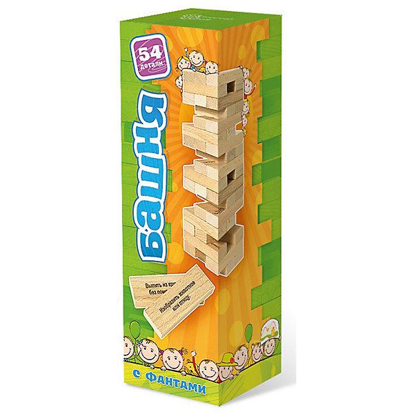 Настольная игра Башня с заданиями для детейНастольные игры для всей семьи<br>Характеристики:<br><br>• возраст: от 5 лет<br>• количество брусков: 54 шт.<br>• размер бруска: 7,5х2,5х1,4 см.<br>• материал: бук<br>• количество игроков: от 1 до 10 человек<br>• время игры: 10-30 минут<br>• упаковка: картонная коробка<br>• размер упаковки: 27,3х8,6х8,6 см.<br>• вес: 972 гр.<br><br>Башня - это увлекательная настольная игра. Принцип достаточно прост: из ровных деревянных брусков строится башня (каждый новый «этаж» делается с чередованием направления укладки), а затем игроки начинают аккуратно вытаскивать по одному бруску и ставить его наверх башни.<br><br>Кроме того, среди обычных брусков есть определенное количество брусков с заданиями. Вытащив такой брусочек, ребёнок должен прочитать задание, и выполнить его. Например, изобразить животное, рассказать стихотворение и др. Игра развивает мелкую моторику, учит пространственному мышлению.<br><br>Настольную игру Башня с заданиями для детей можно купить в нашем интернет-магазине.<br>Ширина мм: 85; Глубина мм: 85; Высота мм: 275; Вес г: 800; Возраст от месяцев: 96; Возраст до месяцев: 2147483647; Пол: Унисекс; Возраст: Детский; SKU: 6845963;