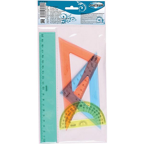 Centrum Набор пластиковых линеекЧертежные принадлежности<br>Набор пластиковых линеек: линейка 20 см., треугольник 9 см. 45 градусов, треугольник 13 см. 30х60х90 градусов, транспортир<br><br>Ширина мм: 5<br>Глубина мм: 130<br>Высота мм: 270<br>Вес г: 63<br>Возраст от месяцев: 72<br>Возраст до месяцев: 2147483647<br>Пол: Унисекс<br>Возраст: Детский<br>SKU: 6846731