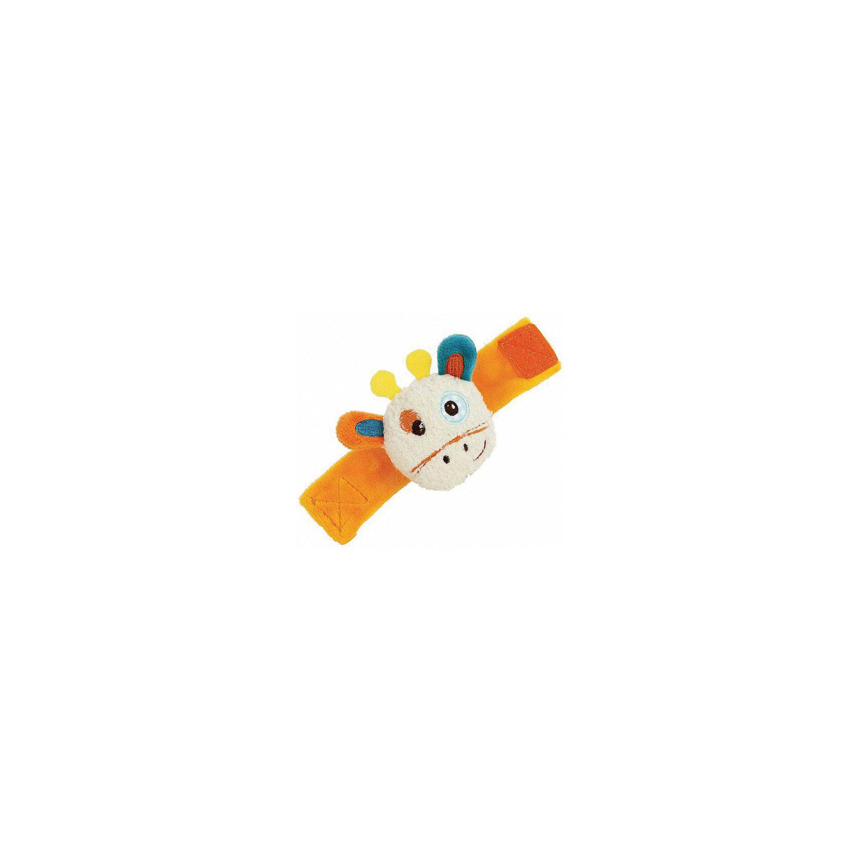 Погремушка-браслет Жирафики Жирафик ДэнниРазвивающие игрушки<br>Характеристики:<br><br>• погремушка;<br>• шуршащие элементы;<br>• застежка-липучка;<br>• возраст: от 1 месяца;<br>• размер упаковки: 15х3,5х9,5 см;<br>• вес: 45 грамм;<br>• страна бренда: Россия.<br><br>Жирафик Дэнни - яркий браслет для малышей. Он надевается на ручку и крепится с помощью надежной липучки.<br><br>Внутри жирафика расположена погремушка. Ушки и рожки жирафа дополнены шуршащими вставками.<br><br>Браслет способствует развитию цветового и звукового восприятия, тактильных ощущений.<br><br>Браслет на ручку Жирафик Дэнни, Жирафики можно купить в нашем интернет-магазине.<br><br>Ширина мм: 95<br>Глубина мм: 35<br>Высота мм: 150<br>Вес г: 45<br>Возраст от месяцев: 3<br>Возраст до месяцев: 2147483647<br>Пол: Унисекс<br>Возраст: Детский<br>SKU: 6846871
