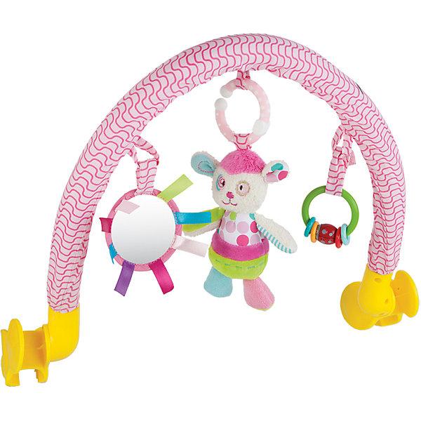 Дуга Жирафики Милашка Пэнни с погремушкой и зеркальцемИгрушки для новорожденных<br>Характеристики:<br><br>• 3 подвески: погремушка, безопасное зеркальце, мягкая игрушка;<br>• подвески можно снимать;<br>• легко крепится к кроватке, коляске или автокреслу;<br>• возраст: с рождения;<br>• размер: 33х34 см;<br>• материал: текстиль, пластик;<br>• размер упаковки: 34х7х37 см;<br>• вес: 648 грамм;<br>• страна бренда: Россия.<br><br>Подвесная дуга развлечет малыша во время прогулки или путешествия. Она надежно фиксируется на коляске или автокресле с помощью двух боковых креплений.<br><br>Дуга имеет три развивающих элемента: мягкая игрушка, безопасное зеркальце и погремушка. Мягкая игрушка выполнена в виде забавной овечки Пэнни. Погремушка состоит из разноцветных колечек, которые очень весело гремят, если их потрясти. А в зеркальце малыш с интересом будет разглядывать свое отражение.<br><br>Игрушка способствует развитию хватательного рефлекса, тактильного, звукового и цветового восприятия.<br><br>Дугу с погремушкой, зеркальцем и мягкой игрушкой Милашка Пэнни, Жирафики можно купить в нашем интернет-магазине.<br>Ширина мм: 370; Глубина мм: 70; Высота мм: 340; Вес г: 648; Возраст от месяцев: -2147483648; Возраст до месяцев: 2147483647; Пол: Женский; Возраст: Детский; SKU: 6846878;