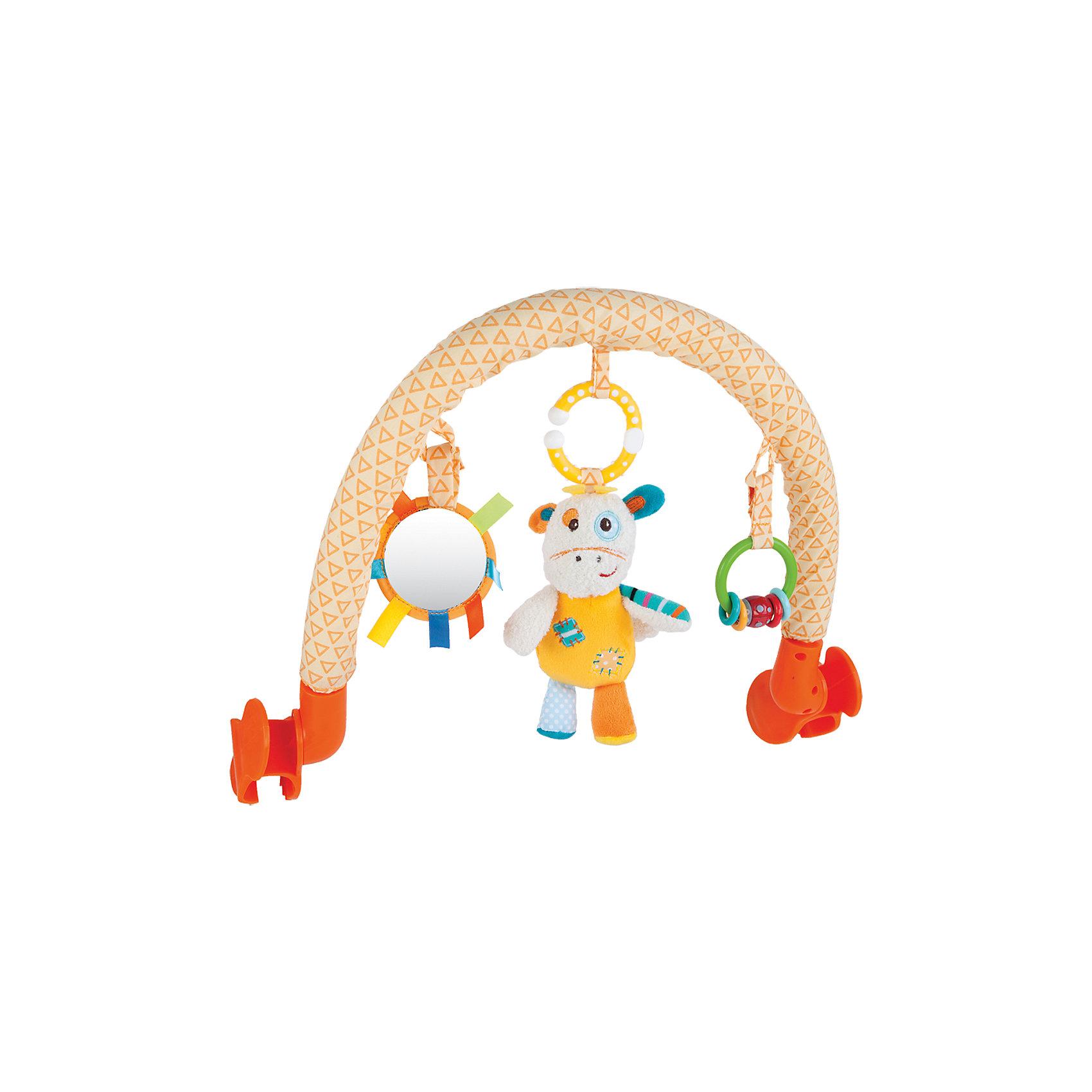 Дуга Жирафики Жирафик Дэнни с погремушкой и зеркальцемИгрушки для малышей<br>Характеристики:<br><br>• 3 подвески: погремушка, безопасное зеркальце, мягкая игрушка;<br>• подвески можно снимать;<br>• легко крепится к кроватке, коляске или автокреслу;<br>• размер: 33х34 см;<br>• возраст: с рождения;<br>• материал: текстиль, пластик;<br>• размер упаковки: 34х7х37 см;<br>• вес: 642 грамма;<br>• страна бренда: Россия.<br><br>Подвесная дуга развлечет малыша во время прогулки или путешествия. Она надежно фиксируется на коляске или автокресле с помощью двух боковых креплений.<br><br>Дуга имеет три развивающих элемента: мягкая игрушка, безопасное зеркальце и погремушка. Мягкая игрушка выполнена в виде забавного жирафика Дэни. Погремушка состоит из разноцветных колечек, которые очень весело гремят, если их потрясти. А в зеркальце малыш с интересом будет разглядывать свое отражение.<br><br>Игрушка способствует развитию хватательного рефлекса, тактильного, звукового и цветового восприятия.<br><br>Дугу с погремушкой, зеркальцем и мягкой игрушкой Жирафик Дэнни, Жирафики можно купить в нашем интернет-магазине.<br><br>Ширина мм: 370<br>Глубина мм: 70<br>Высота мм: 340<br>Вес г: 642<br>Возраст от месяцев: -2147483648<br>Возраст до месяцев: 2147483647<br>Пол: Унисекс<br>Возраст: Детский<br>SKU: 6846879