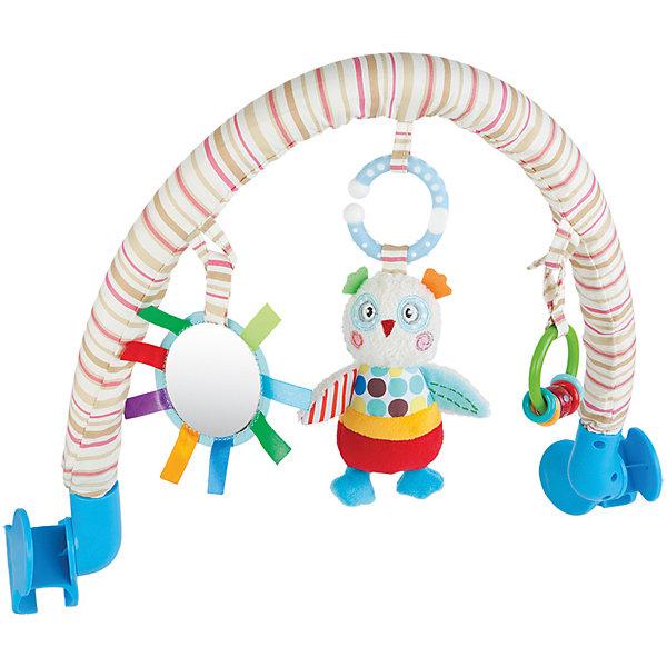 Дуга Жирафики Совенок Бонни с погремушкой и зеркальцемИгрушки для новорожденных<br>Характеристики:<br><br>• 3 подвески: погремушка, безопасное зеркальце, мягкая игрушка;<br>• подвески можно снимать;<br>• легко крепится к кроватке, коляске или автокреслу;<br>• возраст: с рождения;<br>• размер: 33х34 см;<br>• материал: текстиль, пластик;<br>• размер упаковки: 34х7х37 см;<br>• вес: 648 грамм;<br>• страна бренда: Россия.<br><br>Подвесная дуга развлечет малыша во время прогулки или путешествия. Она надежно фиксируется на коляске или автокресле с помощью двух боковых креплений.<br><br>Дуга имеет три развивающих элемента: мягкая игрушка, безопасное зеркальце и погремушка. Мягкая игрушка выполнена в виде забавного совёнка Бонни. Погремушка состоит из разноцветных колечек, которые очень весело гремят, если их потрясти. А в зеркальце малыш с интересом будет разглядывать свое отражение.<br><br>Игрушка способствует развитию хватательного рефлекса, тактильного, звукового и цветового восприятия.<br><br>Дугу с погремушкой, зеркальцем и мягкой игрушкой Совёнок Бонни, Жирафики можно купить в нашем интернет-магазине.<br>Ширина мм: 370; Глубина мм: 70; Высота мм: 340; Вес г: 638; Возраст от месяцев: -2147483648; Возраст до месяцев: 2147483647; Пол: Унисекс; Возраст: Детский; SKU: 6846880;