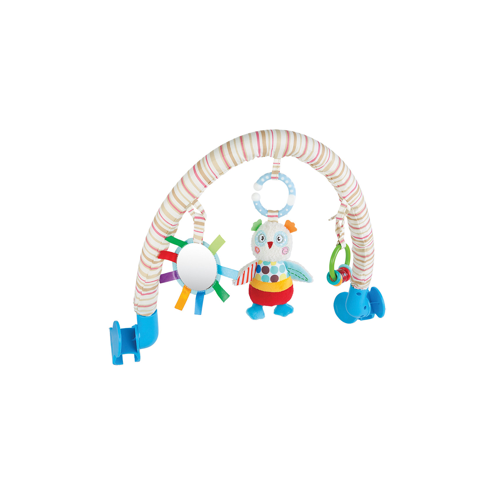 Дуга Жирафики Совенок Бонни с погремушкой и зеркальцемИгрушки для новорожденных<br>Характеристики:<br><br>• 3 подвески: погремушка, безопасное зеркальце, мягкая игрушка;<br>• подвески можно снимать;<br>• легко крепится к кроватке, коляске или автокреслу;<br>• возраст: с рождения;<br>• размер: 33х34 см;<br>• материал: текстиль, пластик;<br>• размер упаковки: 34х7х37 см;<br>• вес: 648 грамм;<br>• страна бренда: Россия.<br><br>Подвесная дуга развлечет малыша во время прогулки или путешествия. Она надежно фиксируется на коляске или автокресле с помощью двух боковых креплений.<br><br>Дуга имеет три развивающих элемента: мягкая игрушка, безопасное зеркальце и погремушка. Мягкая игрушка выполнена в виде забавного совёнка Бонни. Погремушка состоит из разноцветных колечек, которые очень весело гремят, если их потрясти. А в зеркальце малыш с интересом будет разглядывать свое отражение.<br><br>Игрушка способствует развитию хватательного рефлекса, тактильного, звукового и цветового восприятия.<br><br>Дугу с погремушкой, зеркальцем и мягкой игрушкой Совёнок Бонни, Жирафики можно купить в нашем интернет-магазине.<br><br>Ширина мм: 370<br>Глубина мм: 70<br>Высота мм: 340<br>Вес г: 638<br>Возраст от месяцев: -2147483648<br>Возраст до месяцев: 2147483647<br>Пол: Унисекс<br>Возраст: Детский<br>SKU: 6846880