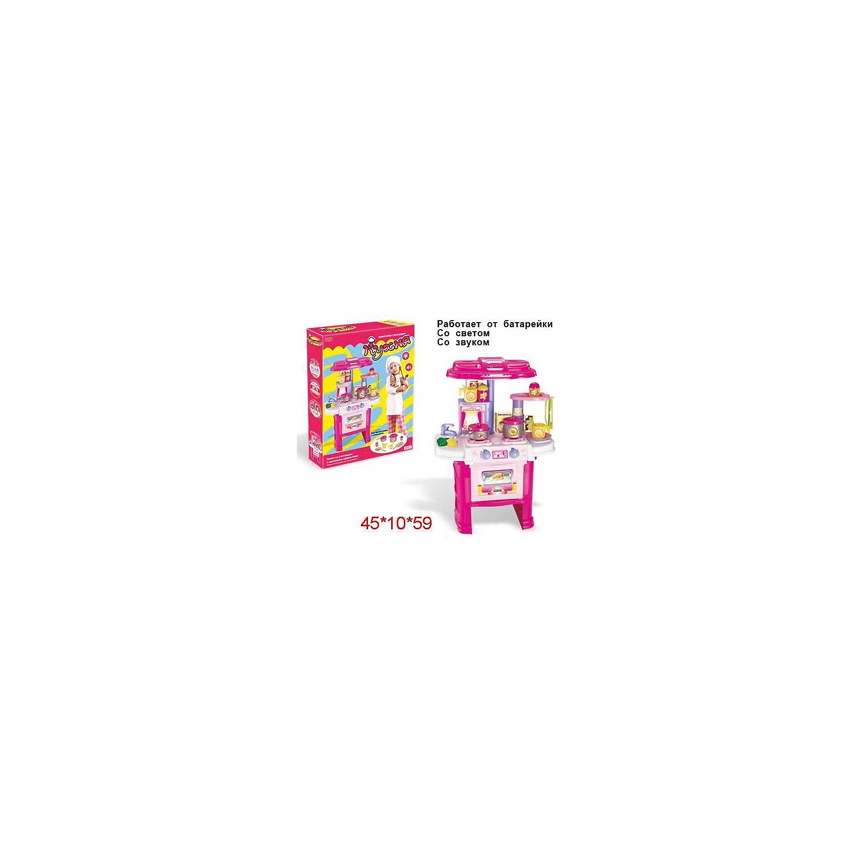 Кухня Shantou Gepai с посудой, со светом и звукомДетские кухни<br>Характеристики:<br><br>• в комплекте: кухня, аксессуары;<br>• световые и звуковые эффекты;<br>• тип батареек: 2 шт. АА<br>• наличие батареек: не входят в комплект<br>• возраст: от 3-х лет;<br>• материал: пластик;<br>• размер упаковки: 58х10х45 см;<br>• вес: 1,95 кг;<br>• страна: Китай.<br><br>Игровая кухня - прекрасный способ научить ребенка помогать маме. В игровой форме девочка научится готовить различные блюда и пользоваться плитой.<br><br>Световые и звуковые эффекты, изображающие приготовление блюд, придадут игре еще больше реалистичности.<br><br>В комплект входит кухня, а также посуда и другие необходимые аксессуары. Для работы необходимы батарейки (не входят в комплект).<br><br>Кухню с посудой, со светом и звуком, Shantou Gepai (Шанту Гепай) можно купить в нашем интернет-магазине.<br><br>Ширина мм: 450<br>Глубина мм: 100<br>Высота мм: 580<br>Вес г: 1950<br>Возраст от месяцев: 36<br>Возраст до месяцев: 2147483647<br>Пол: Женский<br>Возраст: Детский<br>SKU: 6846881