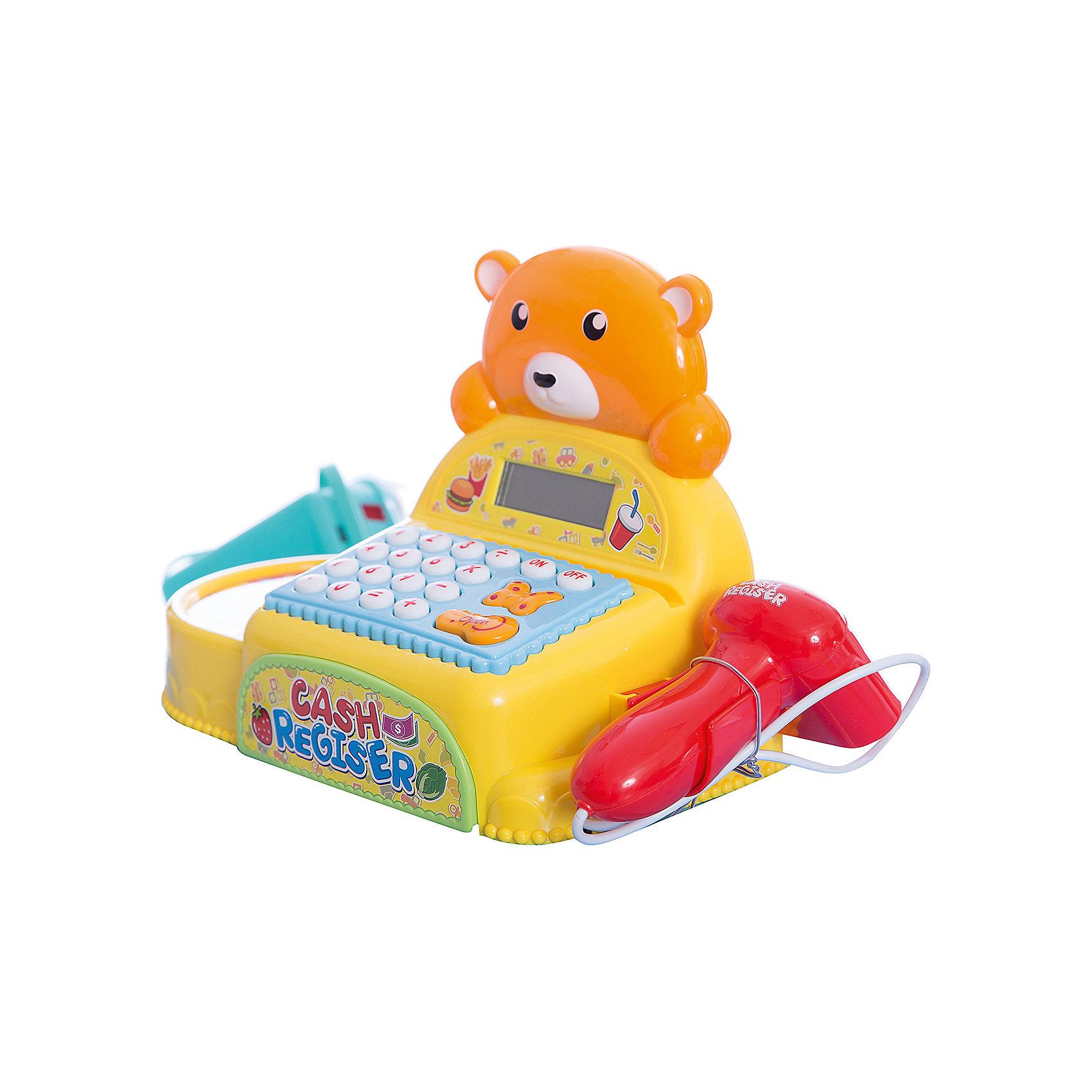 Касса Shantou Gepai Медвежонок с аксессуарами, со светом и звукомДетские магазины и аксесссуары<br>Характеристики:<br><br>• встроенный калькулятор;<br>• световые и звуковые эффекты;<br>• в комплекте: касса, продукты;<br>• возраст: от 3-х лет;<br>• материал: пластик;<br>• батарейки: АА - 3 шт. (не входят в комплект);<br>• размер упаковки: 24х14х37 см;<br>• вес: 1,12 кг;<br>• страна: Китай. <br><br>Касса с маленьким медвежонком позволит ребенку почувствовать себя настоящим кассиром. В набор входит касса со сканером и набор продуктов. Юный продавец сможет разложить товары так, как ему удобно. <br><br>Касса оснащена световыми и звуковыми эффектами. При работе со сканером и считывающим устройством игрушка воспроизводит соответствующие реалистичные звуки. Встроенный калькулятор поможет сосчитать стоимость товаров.<br><br>Для работы необходимы три батарейки АА (не входят в комплект).<br><br>Кассу Медвежонок с аксессуарами, со светом и звуком, Shantou Gepai (Шанту Гепай) можно купить в нашем интернет-магазине.<br><br>Ширина мм: 370<br>Глубина мм: 140<br>Высота мм: 240<br>Вес г: 1117<br>Возраст от месяцев: 36<br>Возраст до месяцев: 2147483647<br>Пол: Унисекс<br>Возраст: Детский<br>SKU: 6846888