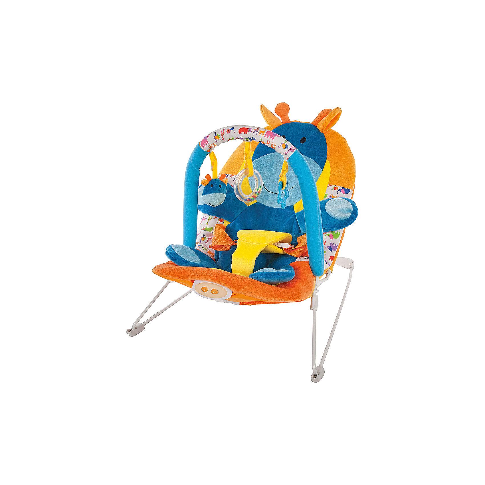 Кресло-качалка Жирафики Жирафик с вибрацией и музыкойКресла-качалки<br>Характеристики:<br><br>• дуга с тремя игрушками;<br>• анатомическое строение кресла;<br>• режим вибрации;<br>• встроенная музыка;<br>• трехточечные ремни;<br>• возраст: с рождения;<br>• материал: текстиль, пластик, металл;<br>• размер упаковки: 39х8х52 см;<br>• вес: 2,67 кг;<br>• страна бренда: Россия.<br><br>Кресло-качалка - хороший помощник для родителей. Оно развлечет и успокоит малыша, пока мама занимается своими делами. <br><br>Кресло имеет дугу с тремя развивающими игрушками, которые малыш с интересом будет рассматривать и хватать ручками.<br><br>Встроенная музыка и режим вибрации помогут успокоить малыша, если он расстроен. Для безопасности ребенка предусмотрены трехточечные ремни.<br><br>Кресло подходит для детей с рождения. Оно имеет анатомическую форму, удобную для положения полулёжа.<br><br>Кресло-качалку Жирафик с 3-мя игрушками, вибрацией и музыкой, Жирафики можно купить в нашем интернет-магазине.<br><br>Ширина мм: 520<br>Глубина мм: 80<br>Высота мм: 390<br>Вес г: 2667<br>Возраст от месяцев: -2147483648<br>Возраст до месяцев: 2147483647<br>Пол: Унисекс<br>Возраст: Детский<br>SKU: 6846898