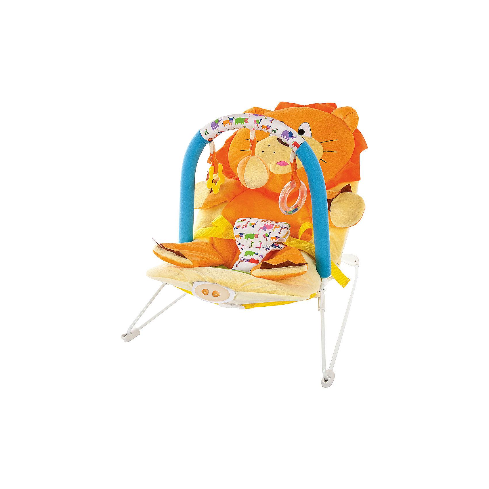 Кресло-качалка Жирафики Львёнок с вибрацией и музыкойКресла-качалки<br>Характеристики:<br><br>• дуга с тремя игрушками;<br>• анатомическое строение кресла;<br>• режим вибрации;<br>• встроенная музыка;<br>• трехточечные ремни;<br>• возраст: с рождения;<br>• материал: текстиль, пластик, металл;<br>• размер упаковки: 39х8х52 см;<br>• вес: 2,67 кг;<br>• страна бренда: Россия.<br><br>Кресло-качалка - хороший помощник для родителей. Оно развлечет и успокоит малыша, пока мама занимается своими делами. <br><br>Кресло имеет дугу с тремя развивающими игрушками, которые малыш с интересом будет рассматривать и хватать ручками.<br><br>Встроенная музыка и режим вибрации помогут успокоить малыша, если он расстроен. Для безопасности ребенка предусмотрены трехточечные ремни.<br><br>Кресло подходит для детей с рождения. Оно имеет анатомическую форму, удобную для положения полулёжа.<br><br>Кресло-качалку Львёнок с 3-мя игрушками, вибрацией и музыкой, Жирафики можно купить в нашем интернет-магазине.<br><br>Ширина мм: 520<br>Глубина мм: 80<br>Высота мм: 390<br>Вес г: 2667<br>Возраст от месяцев: 3<br>Возраст до месяцев: 2147483647<br>Пол: Унисекс<br>Возраст: Детский<br>SKU: 6846899