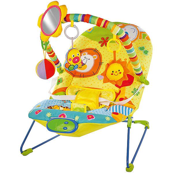 Кресло-качалка Жирафики Сафари с зеркальцем, вибрацией и музыкойДетские качели для дома<br>Характеристики:<br><br>• дуга с игрушками;<br>• безопасное зеркальце;<br>• режим вибрации;<br>• музыка;<br>• возраст: от рождения до года;<br>• максимальная нагрузка: 12 кг;<br>• батарейки: АА - 2 шт. (не входят в комплект);<br>• материал: пластик, текстиль, металл;<br>• размер упаковки: 35х9х50 см;<br>• вес: 2,25 кг;<br>• страна бренда: Россия.<br><br>Кресло-качалка Сафари поможет успокоить малыша и отвлечь, пока родители занимаются своими делами. Кресло оснащено режимом вибрации, который поможет убаюкать кроху.<br><br>Лежа в кресле, малыш сможет слушать приятные мелодии, играть с подвесными игрушками и любоваться своим отражением в безопасном зеркальце.<br><br>Кресло выполнено в ярких цветах, привлекающих внимание карапуза. Игра с дугой поможет развить мелкую моторику, цветовое восприятие и хватательный рефлекс.<br><br>Для работы необходимы две батарейки АА (не входят в комплект).<br><br>Кресло-качалку Сафари с зеркальцем, вибрацией и музыкой, Жирафики можно купить в нашем интернет-магазине.<br>Ширина мм: 500; Глубина мм: 90; Высота мм: 350; Вес г: 2250; Возраст от месяцев: -2147483648; Возраст до месяцев: 2147483647; Пол: Унисекс; Возраст: Детский; SKU: 6846900;