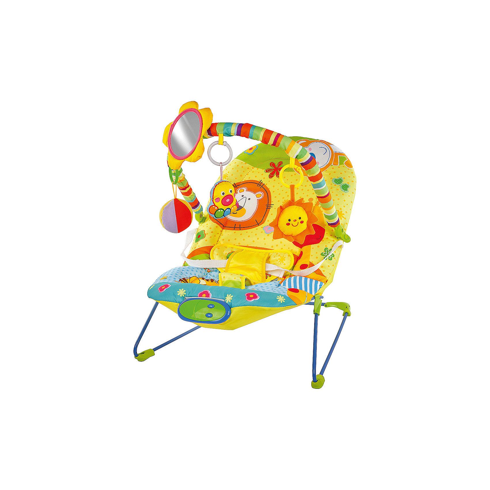 Кресло-качалка Жирафики Сафари с зеркальцем, вибрацией и музыкойКресла-качалки<br>Характеристики:<br><br>• дуга с игрушками;<br>• безопасное зеркальце;<br>• режим вибрации;<br>• музыка;<br>• возраст: от рождения до года;<br>• максимальная нагрузка: 12 кг;<br>• батарейки: АА - 2 шт. (не входят в комплект);<br>• материал: пластик, текстиль, металл;<br>• размер упаковки: 35х9х50 см;<br>• вес: 2,25 кг;<br>• страна бренда: Россия.<br><br>Кресло-качалка Сафари поможет успокоить малыша и отвлечь, пока родители занимаются своими делами. Кресло оснащено режимом вибрации, который поможет убаюкать кроху.<br><br>Лежа в кресле, малыш сможет слушать приятные мелодии, играть с подвесными игрушками и любоваться своим отражением в безопасном зеркальце.<br><br>Кресло выполнено в ярких цветах, привлекающих внимание карапуза. Игра с дугой поможет развить мелкую моторику, цветовое восприятие и хватательный рефлекс.<br><br>Для работы необходимы две батарейки АА (не входят в комплект).<br><br>Кресло-качалку Сафари с зеркальцем, вибрацией и музыкой, Жирафики можно купить в нашем интернет-магазине.<br><br>Ширина мм: 500<br>Глубина мм: 90<br>Высота мм: 350<br>Вес г: 2250<br>Возраст от месяцев: -2147483648<br>Возраст до месяцев: 2147483647<br>Пол: Унисекс<br>Возраст: Детский<br>SKU: 6846900