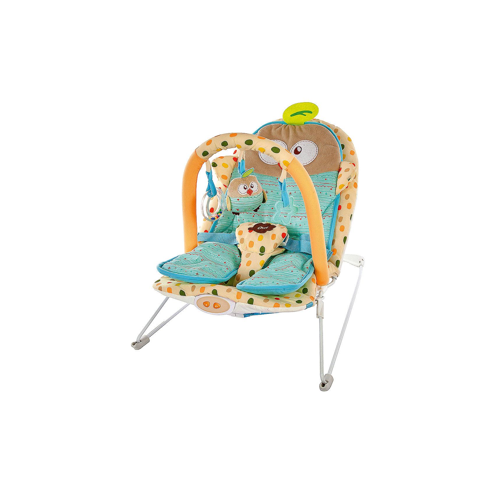 Кресло-качалка Жирафики Совёнок с  вибрацией и музыкойКресла-качалки<br>Характеристики:<br><br>• анатомическая вкладка;<br>• три подвесные игрушки;<br>• режим вибрации;<br>• встроенная музыка;<br>• трехточечный ремень безопасности;<br>• возраст: с рождения до года;<br>• материал: металл, пластик, текстиль;<br>• размер упаковки: 39х8х52 см;<br>• вес: 2,67 кг;<br>• страна бренда: Россия.<br><br>Кресло-качалка Совёнок успокоит и убаюкает маленького непоседу. Кресло имеет анатомическую вкладку, выполненную в виде очаровательного совенка. Оно повторяет строение тела малыша и правильно распределяет нагрузку на спину, обеспечивая здоровый и комфортный сон.<br><br>Кресло оснащено режимом вибрации и функцией включения мелодий. Прослушивая музыку и плавно покачиваясь в кресле, малыш быстро успокоится и заснет.<br><br>Для безопасности малыша предусмотрены трехточечные ремни безопасности.<br><br>Дуга имеет 3 подвесные игрушки, которые малыш сможет рассматривать и хватать, развивая цветовое восприятие, мелкую моторику и хватательный рефлекс.<br><br>Кресло-качалку Совёнок с анатомической вкладкой, 3-мя игрушками, вибрацией и музыкой, Жирафики можно купить в нашем интернет-магазине.<br><br>Ширина мм: 520<br>Глубина мм: 80<br>Высота мм: 390<br>Вес г: 2667<br>Возраст от месяцев: -2147483648<br>Возраст до месяцев: 2147483647<br>Пол: Унисекс<br>Возраст: Детский<br>SKU: 6846901