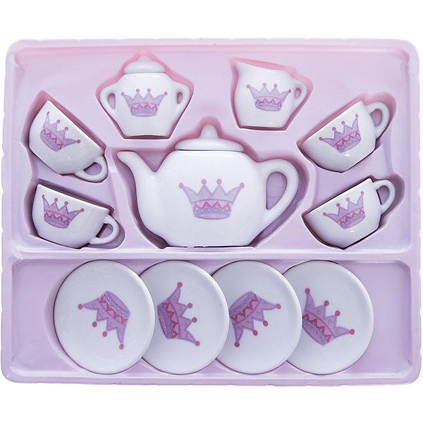 Набор игрушечной посуды Mary Poppins Five Oclock - Корона, 13 предметовДетские кухни<br>Характеристики:<br><br>• количество предметов: 13;<br>• в комплекте: 4 чашечки, 4 блюдца, сахарница с крышкой, чайник с крышкой, молочник;<br>• материал: фарфор;<br>• возраст: от 3-х лет;<br>• размер упаковки: 28х11х55 см;<br>• вес: 646 грамм;<br>• страна: Россия.<br><br>Набор Корона отлично подойдет для чаепития с любимыми куклами. В набор входят 4 чашечки с блюдечками, сахарница, чайник и молочник. <br><br>Все предметы изготовлены из прочного, безопасного фарфора.<br><br>Набор подходит для кукол высотой от 38 сантиметров.<br><br>Набор фарфоровой посуды Корона, 13 предметов, Mary Poppins (Мэри Поппинс) можно купить в нашем интернет-магазине.<br>Ширина мм: 550; Глубина мм: 110; Высота мм: 280; Вес г: 646; Возраст от месяцев: 36; Возраст до месяцев: 2147483647; Пол: Женский; Возраст: Детский; SKU: 6846906;