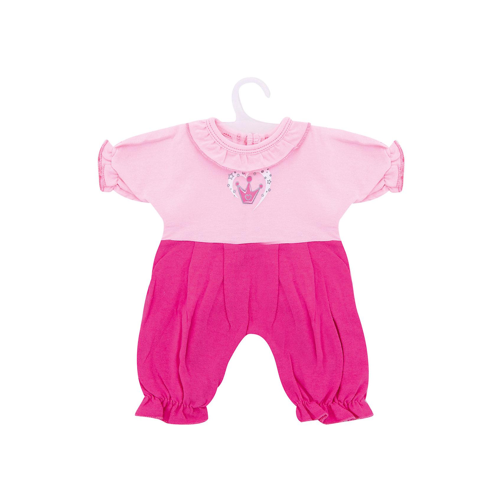 Одежда для куклы Mary Poppins комбинезон КоронаКукольная одежда и аксессуары<br>Характеристики:<br><br>• возраст: от 3-х лет;<br>• подходит для кукол высотой 38-43 см;<br>• материал: текстиль;<br>• размер упаковки: 28х1х22 см;<br>• вес: 36 грамм;<br>• страна бренда: Россия.<br><br>Яркий и красивый комбинезон Корона прекрасно подойдет для прогулок и игр любимой куклы девочки. Верх комбинезона выполнен в светло-розовом цвете, а низ - в темно-розовом. По краям комбинезон украшен оборками. На груди комбинезон украшен декоративной короной. <br><br>Подходит для кукол размером 38-43 сантиметров.<br><br>Комбинезон для куклы 38-43 см Корона, Mary Poppins (Мэри Поппинс) можно купить в нашем интернет-магазине.<br><br>Ширина мм: 220<br>Глубина мм: 10<br>Высота мм: 280<br>Вес г: 36<br>Возраст от месяцев: 36<br>Возраст до месяцев: 2147483647<br>Пол: Женский<br>Возраст: Детский<br>SKU: 6846907