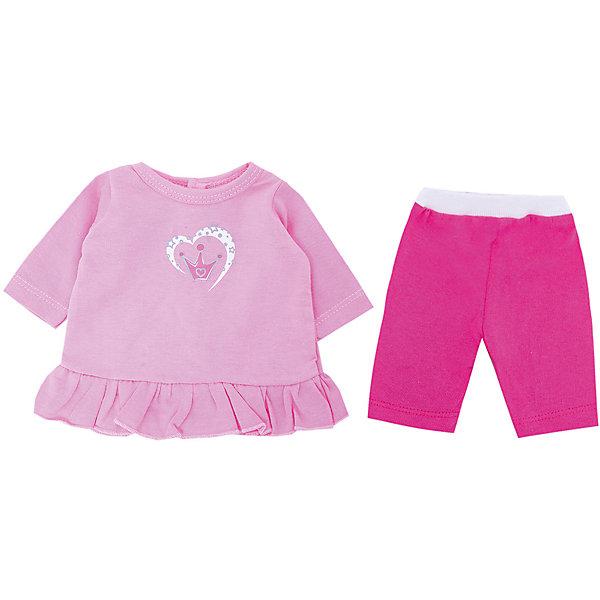 Одежда для куклы Mary Poppins Корона, туника и леггинсыОдежда для кукол<br>Характеристики:<br><br>• в комплекте: туника, легинсы;<br>• возраст: от 3-х лет;<br>• подходит для кукол высотой 38-43 см;<br>• материал: текстиль;<br>• размер упаковки: 26х1х22 см;<br>• вес: 51 грамм;<br>• страна бренда: Россия.<br><br>Туника и легинсы станут настоящим украшением любимой куклы. Изделия легко надеваются на куклу. <br><br>В комплект входит вешалка, на которую девочка сможет повесить одежду.<br><br>Туника и легинсы изготовлены из приятного на ощупь материала. Контрастное сочетание светлого и темного оттенков розового цвета привлечет внимание к кукле.<br><br>Подходит для кукол высотой 38-43 сантиметра.<br><br>Тунику и легинсы для куклы 38-43 см Корона, Mary Poppins (Мэри Поппинс) можно купить в нашем интернет-магазине.<br><br>Ширина мм: 220<br>Глубина мм: 10<br>Высота мм: 260<br>Вес г: 51<br>Возраст от месяцев: 36<br>Возраст до месяцев: 2147483647<br>Пол: Женский<br>Возраст: Детский<br>SKU: 6846908