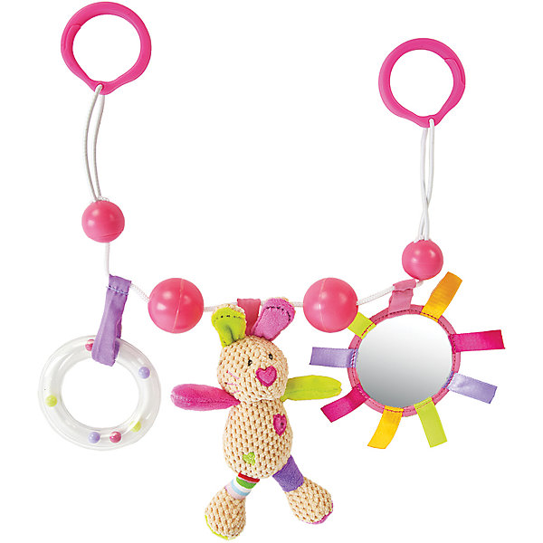 Подвеска Жирафики Зайка Полли с погремушкой, зеркальцем и мягкой игрушкойИгрушки для новорожденных<br>Характеристики:<br><br>• мягкая игрушка с зеркальцем, погремушкой;<br>• материал: пластик, текстиль, наполнитель;<br>• возраст: с рождения;<br>• размер упаковки: 17х7х38,5 см;<br>• вес упаковки: 1,06 кг;<br>• страна бренда: Россия.<br><br>Правильно выбранная игрушка - залог хорошего развития малыша. Зайка Полли от бренда Жирафики сочетает в себе все необходимые развивающие элементы. <br><br>По центру расположена мягкая игрушка в виде милого зайчика, а по бокам - зеркальце и погремушка. Внутри зайки находится пищалка, которая, несомненно, развеселит кроху. Зайка сшит из материалов разной фактуры, что способствует развитию сенсорного восприятия и тактильных ощущений.<br><br>Подвеску с погремушкой, зеркальцем и мягкой игрушкой Зайка Полли, Жирафики можно купить в нашем интернет-магазине.<br>Ширина мм: 385; Глубина мм: 70; Высота мм: 170; Вес г: 1060; Возраст от месяцев: -2147483648; Возраст до месяцев: 2147483647; Пол: Женский; Возраст: Детский; SKU: 6846913;