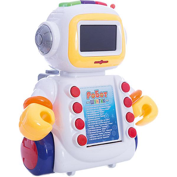 Интерактивный развивающий робот Shantou Gepai Шунтик, 60 карточекИнтерактивные игрушки для малышей<br>Характеристики:<br><br>• функция часов и будильника;<br>• русская озвучка;<br>• песенки и стихи;<br>• обучение русскому алфавиту;<br>• обучение английскому алфавиту;<br>• обучение цветам и фигурам;<br>• обучение правилам дорожного движения;<br>• тип батареек: 3 х AA / LR6 1.5V (пальчиковые)<br>• наличие батареек: не входят в комплект<br>• возраст: от 2-х лет;<br>• размер упаковки: 28,5х13,5х32 см;<br>• вес: 1,09 кг;<br>• страна: Китай.<br><br>Интерактивная развивающая игрушка Робот Шунтик поможет ребенку получить новые знания в игровой форме.  В рюкзаке Шунтика, находятся 60 обучающих карточек, с помощью которых ребенок сможет выучить русский и английский алфавит, названия цветов и геометрических фигур, а также узнает правила дорожного движения.<br><br>В перерывах между занятиями Шунтик развлечет ребенка веселой песенкой или стихотворением. Робот оснащен функцией часов и будильника. Вставать в садик или в школу с таким роботом будет очень приятно.<br><br>Шунтик умеет двигать руками, его экран светится во время работы. Для работы необходимы батарейки (не входят в комплект).<br><br>Развивающего робота Шунтик, 60 карточек, Shantou Gepai (Шанту Гепай) можно купить в нашем интернет-магазине.<br><br>Ширина мм: 320<br>Глубина мм: 135<br>Высота мм: 285<br>Вес г: 1083<br>Возраст от месяцев: 24<br>Возраст до месяцев: 2147483647<br>Пол: Мужской<br>Возраст: Детский<br>SKU: 6846916