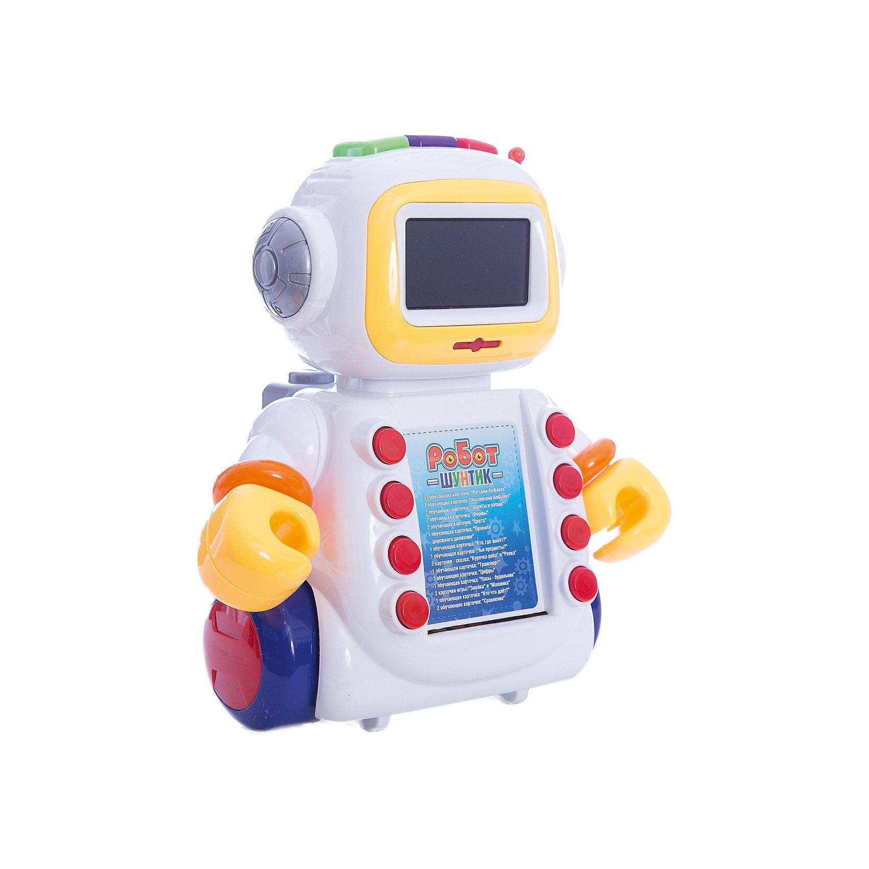 Интерактивный развивающий робот Shantou Gepai Шунтик, 60 карточекРазвивающие игрушки<br>Характеристики:<br><br>• функция часов и будильника;<br>• русская озвучка;<br>• песенки и стихи;<br>• обучение русскому алфавиту;<br>• обучение английскому алфавиту;<br>• обучение цветам и фигурам;<br>• обучение правилам дорожного движения;<br>• тип батареек: 3 х AA / LR6 1.5V (пальчиковые)<br>• наличие батареек: не входят в комплект<br>• возраст: от 2-х лет;<br>• размер упаковки: 28,5х13,5х32 см;<br>• вес: 1,09 кг;<br>• страна: Китай.<br><br>Интерактивная развивающая игрушка Робот Шунтик поможет ребенку получить новые знания в игровой форме.  В рюкзаке Шунтика, находятся 60 обучающих карточек, с помощью которых ребенок сможет выучить русский и английский алфавит, названия цветов и геометрических фигур, а также узнает правила дорожного движения.<br><br>В перерывах между занятиями Шунтик развлечет ребенка веселой песенкой или стихотворением. Робот оснащен функцией часов и будильника. Вставать в садик или в школу с таким роботом будет очень приятно.<br><br>Шунтик умеет двигать руками, его экран светится во время работы. Для работы необходимы батарейки (не входят в комплект).<br><br>Развивающего робота Шунтик, 60 карточек, Shantou Gepai (Шанту Гепай) можно купить в нашем интернет-магазине.<br><br>Ширина мм: 320<br>Глубина мм: 135<br>Высота мм: 285<br>Вес г: 1083<br>Возраст от месяцев: 24<br>Возраст до месяцев: 2147483647<br>Пол: Мужской<br>Возраст: Детский<br>SKU: 6846916