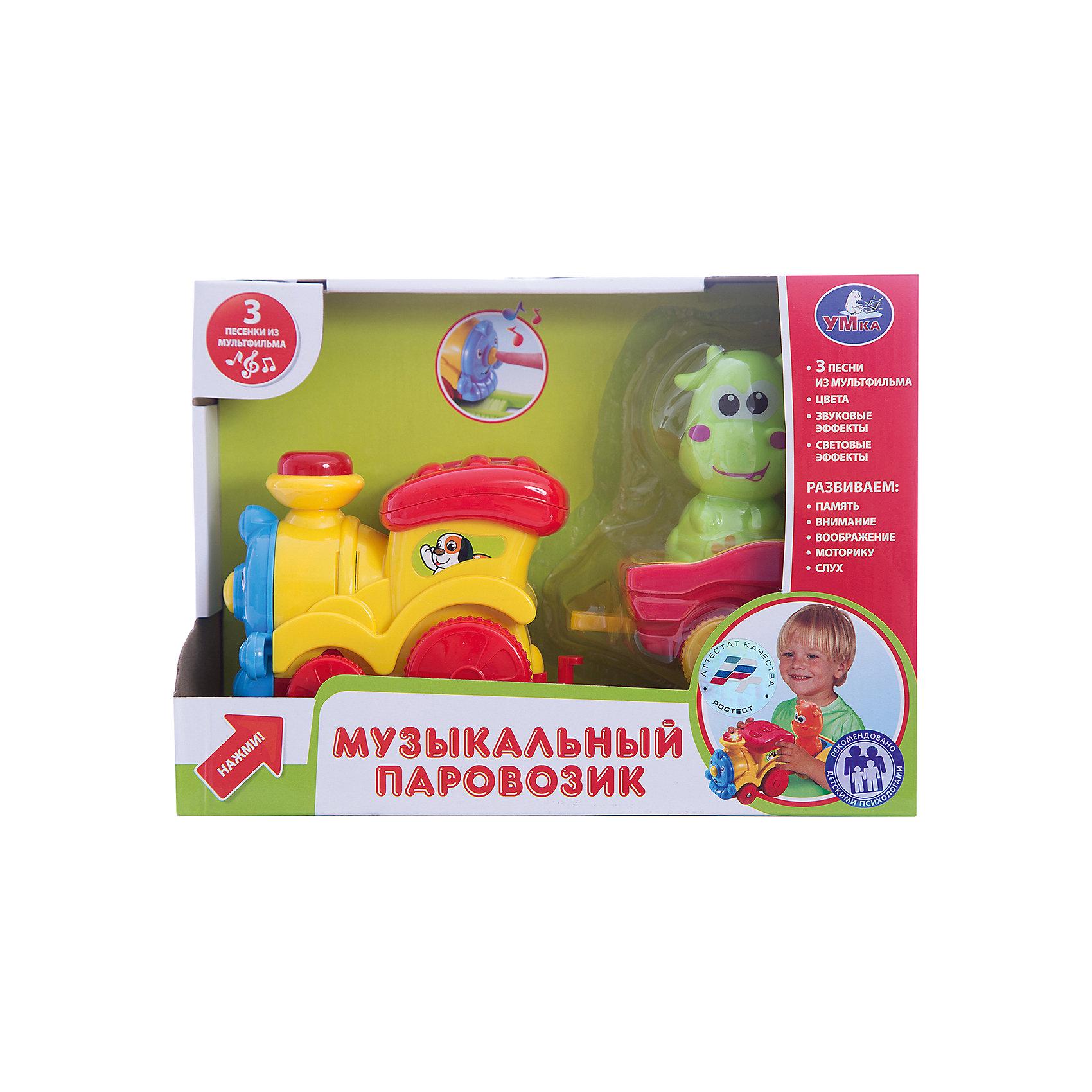 Паровозик музыкальный, УмкаИнтерактивные игрушки для малышей<br><br><br>Ширина мм: 180<br>Глубина мм: 90<br>Высота мм: 240<br>Вес г: 360<br>Возраст от месяцев: 36<br>Возраст до месяцев: 60<br>Пол: Унисекс<br>Возраст: Детский<br>SKU: 6848797