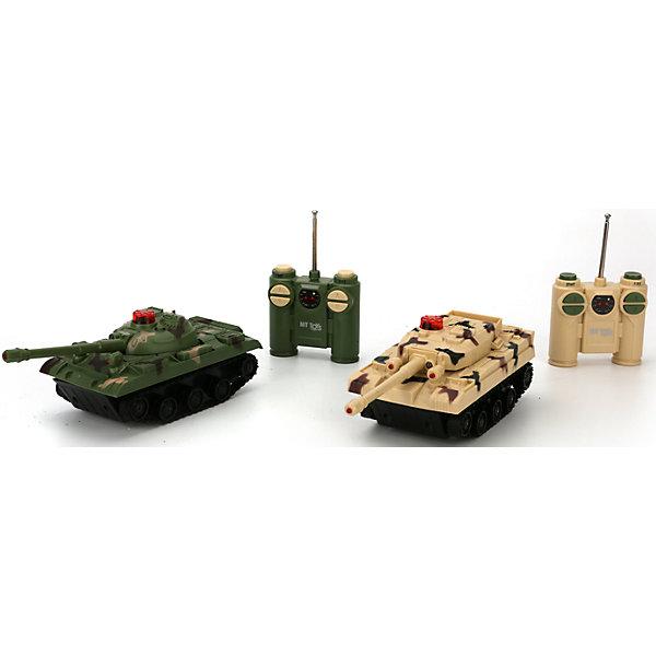 Набор из 2-х танков, радиоуправляемые, Играем ВместеВоенный транспорт<br>Характеристики товара:<br><br>• возраст: от 5 лет;<br>• материал: пластик;<br>• в комплекте: 2 танка, 2 пульта;<br>• тип батареек: 3 батарейки LR44 (для пульта), 8 батареек ААА (для танков);<br>• наличие батареек: батарейки для пульта в комплекте, батарейки для танков в комплект не входят;<br>• размер упаковки: 26х21х8 см;<br>• вес упаковки: 700 гр.;<br>• страна производитель: Китай.<br><br>Набор из 2 танков на радиоуправлении Играем Вместе позволит устроить захватывающие танковые сражения. Танки управляются пультами управления. У танков вращаются пушки. При попадании в один из танков загорается красная лампочка на башне.<br><br>Игрушка оснащена световыми и звуковыми эффектами. Во время игры слышны звуки выстрелов, поворота пушки, работающего мотора. Игрушка выполнена из качественных прочных материалов.<br><br>Набор из 2 танков на радиоуправлении Играем Вместе можно приобрести в нашем интернет-магазине.<br><br>Ширина мм: 260<br>Глубина мм: 80<br>Высота мм: 210<br>Вес г: 700<br>Возраст от месяцев: 60<br>Возраст до месяцев: 120<br>Пол: Унисекс<br>Возраст: Детский<br>SKU: 6848812