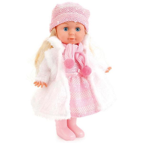 Кукла, 30 см, озвученная с набором одежды, КарапузКуклы<br>Характеристики товара:<br><br>• возраст: от 3 лет;<br>• материал: пластик, текстиль;<br>• в комплекте: кукла, комплект одежды;<br>• высота куклы: 30 см;<br>• размер упаковки: 26х31х9 см;<br>• вес упаковки: 540 гр.;<br>• страна производитель: Китай.<br><br>Кукла «Полина» 30 см Карапуз — очаровательная девочка с мягкими светлыми волосами и голубыми глазками. Одета куколка в теплое платье, шарфик и шапочку. В наборе дополнительный комплект одежды: белоснежное меховое платье. Кукла читает стишок и поет песенку на стихи Агнии Барто. Выполнена из качественных безопасных материалов.<br><br>Куклу «Полина» 30 см Карапуз можно приобрести в нашем интернет-магазине.<br>Ширина мм: 310; Глубина мм: 90; Высота мм: 260; Вес г: 540; Возраст от месяцев: 36; Возраст до месяцев: 60; Пол: Унисекс; Возраст: Детский; SKU: 6848825;