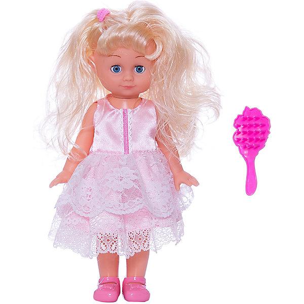 Кукла, 30 см, озвученная с аксессуарами, КарапузКуклы<br>Характеристики товара:<br><br>• возраст: от 3 лет;<br>• материал: пластик, текстиль;<br>• в комплекте: кукла, расческа;<br>• тип батареек: 3 батарейки LR44;<br>• наличие батареек: входят в комплект;<br>• высота куклы: 30 см;<br>• размер упаковки: 32х17х9 см;<br>• вес упаковки: 400 гр.;<br>• страна производитель: Китай.<br><br>Кукла «Полина» 30 см Карапуз — очаровательная девочка с мягкими светлыми волосами, которые можно украшать, заплетать и расчесывать при помощи расчески. Одета куколка в праздничное розовое платье. Кукла читает стишок и поет песенку на стихи Агнии Барто. Уложив ее спать, она закроет глазки. Выполнена из качественных безопасных материалов.<br><br>Куклу «Полина» 30 см Карапуз можно приобрести в нашем интернет-магазине.<br>Ширина мм: 320; Глубина мм: 90; Высота мм: 170; Вес г: 400; Возраст от месяцев: 36; Возраст до месяцев: 60; Пол: Унисекс; Возраст: Детский; SKU: 6848832;
