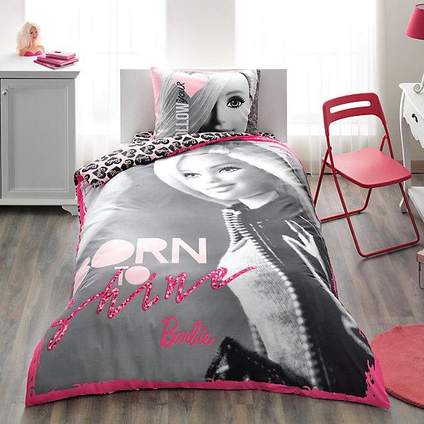Постельное белье 3 пред. Barbie Shine, Ranforce, TACДетское постельное бельё<br>Характеристики товара: <br><br>• пододеяльник (160х220см), наволочка (50х70см), простынь (100х200см);<br>• материал: ранфорс (100% хлопок);<br>• цвет: розовый, серый;<br>• страна бренда: Турция;<br>• страна производитель: Турция.<br><br>Это постельное бельё от турецкого бренда TAC (ТАЧ) отлично подойдёт маленькой девочке, мечтающей о собственном мире Барби. Несмотря на плотность ткани, она состоит из мельчайших волокон, что придаёт мягкость и воздушность изделию.<br><br>Все материалы, которые входят в состав этого комплекта, гипоаллергенны и не вызывают неприятных ощущений. Это бельё не боится воды, так как пропускает через себя около 20% влаги и выводит наружу, поэтому её очень легко сушить. Благодаря специальному составу материал не электризуется и способствует улучшению сна ребёнка. <br><br>Такой комплект очень устойчив к частым стиркам, его рекомендуется стирать обычным детским мылом без отдушек. Температурный баланс тела ребенка всегда поддерживается, а значит беспокоиться не о чем.<br><br>Волшебный мир Барби будет всегда создавать уют и радовать ребенка.<br><br>Постельное бельё Barbie Shine (Барби Шайн) можно купить в нашем интернет-магазине.<br><br>Ширина мм: 290<br>Глубина мм: 70<br>Высота мм: 390<br>Вес г: 1100<br>Возраст от месяцев: 36<br>Возраст до месяцев: 144<br>Пол: Женский<br>Возраст: Детский<br>SKU: 6849239