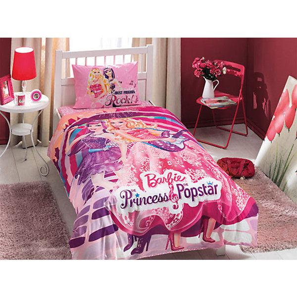 Постельное белье 3 пред. Barbie Princess Popstar, Ranforce/Disney, TACДетское постельное бельё<br>Характеристики товара: <br><br>• комплектация: пододеяльник (160х220см), наволочка (50х70см), простынь (180х200см);<br>• материал: ранфорс (100% хлопок);<br>• цвет: розовый, фиолетовый;<br>• страна бренда: Турция;<br>• страна производитель: Турция.<br><br>Это постельное бельё от турецкого бренда TAC (ТАЧ) отлично подойдёт маленькой девочке, мечтающей о собственном мире Барби. Несмотря на плотность ткани, она состоит из мельчайших волокон, что придаёт мягкость и воздушность изделию. Все материалы, которые входят в состав этого комплекта, гипоаллергенны и не вызывают неприятных ощущений. <br><br>Постельное бельё не боится воды, так как пропускает через себя около 20% влаги и выводит наружу, поэтому её очень легко сушить. Благодаря специальному составу материал не электризуется и способствует улучшению сна ребёнка. <br><br>Такой комплект очень устойчив к частым стиркам, его рекомендуется стирать обычным детским мылом без отдушек. Температурный баланс тела ребенка всегда поддерживается, а значит беспокоиться не о чем.<br> <br>Волшебный мир Барби будет всегда создавать уют и радовать ребенка.<br><br>Постельное бельё Barbie Princess Popstar (Барби Пинцесс Попстар) можно купить в нашем интернет-магазине.<br><br>Ширина мм: 350<br>Глубина мм: 150<br>Высота мм: 150<br>Вес г: 1300<br>Возраст от месяцев: 36<br>Возраст до месяцев: 144<br>Пол: Женский<br>Возраст: Детский<br>SKU: 6849294