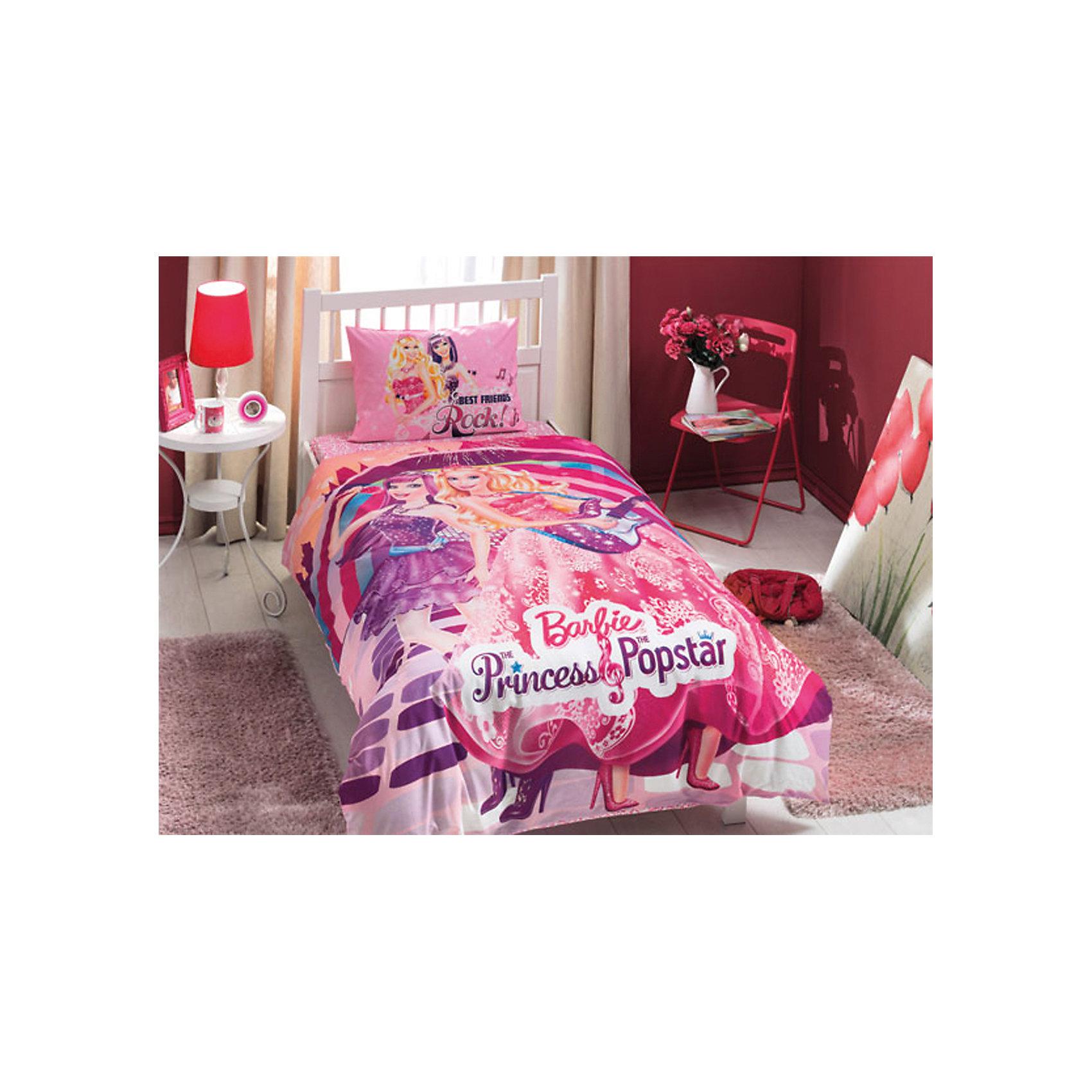 Постельное белье 3 пред. Barbie Princess Popstar, Ranforce/Disney, TACПостельное бельё<br>Характеристики товара: <br><br>• комплектация: пододеяльник (160х220см), наволочка (50х70см), простынь (180х200см);<br>• материал: ранфорс (100% хлопок);<br>• цвет: розовый, фиолетовый;<br>• страна бренда: Турция;<br>• страна производитель: Турция.<br><br>Это постельное бельё от турецкого бренда TAC (ТАЧ) отлично подойдёт маленькой девочке, мечтающей о собственном мире Барби. Несмотря на плотность ткани, она состоит из мельчайших волокон, что придаёт мягкость и воздушность изделию. Все материалы, которые входят в состав этого комплекта, гипоаллергенны и не вызывают неприятных ощущений. <br><br>Постельное бельё не боится воды, так как пропускает через себя около 20% влаги и выводит наружу, поэтому её очень легко сушить. Благодаря специальному составу материал не электризуется и способствует улучшению сна ребёнка. <br><br>Такой комплект очень устойчив к частым стиркам, его рекомендуется стирать обычным детским мылом без отдушек. Температурный баланс тела ребенка всегда поддерживается, а значит беспокоиться не о чем.<br> <br>Волшебный мир Барби будет всегда создавать уют и радовать ребенка.<br><br>Постельное бельё Barbie Princess Popstar (Барби Пинцесс Попстар) можно купить в нашем интернет-магазине.<br><br>Ширина мм: 350<br>Глубина мм: 150<br>Высота мм: 150<br>Вес г: 1300<br>Возраст от месяцев: 36<br>Возраст до месяцев: 144<br>Пол: Женский<br>Возраст: Детский<br>SKU: 6849294
