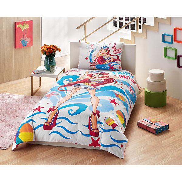 Детское постельное белье 1,5 сп. TAC, Winx Bloom OceanДетское постельное бельё<br>Характеристики товара: <br><br>• комплектация: пододеяльник (160х220см), наволочка (50х70см), простынь (180х200см);<br>• общий размер: 1.5-спальный;<br>• материал: ранфорс (100% хлопок);<br>• цвет: белый, голубой, красный;<br>• страна бренда: Турция;<br>• страна производитель: Турция.<br><br>Это постельное бельё от турецкого бренда TAC (ТАЧ) отлично подойдёт маленькой девочке, мечтающей о собственном волшебном мире. Несмотря на плотность ткани, она состоит из мельчайших волокон, что придаёт мягкость и воздушность изделию. Все материалы, которые входят в состав этого комплекта, гипоаллергенны и не вызывают неприятных ощущений. <br><br>Постельное бельё не боится воды, так как пропускает через себя около 20% влаги и выводит наружу, поэтому её очень легко сушить. Кроме того, контроль влаги поддерживает температурный баланс тела. Благодаря специальному составу материал не электризуется и способствует улучшению сна ребёнка.<br><br> Такой комплект очень устойчив к частым стиркам, его рекомендуется стирать обычным детским мылом без отдушек.<br> Сказочный мир с персонажем «Блум» в главной роли будет всегда создавать уют и радовать ребенка.<br><br>Постельное белье Winx Bloom Ocean (Винкс Блум Оушен) можно купить в нашем интернет-магазине.<br>Ширина мм: 350; Глубина мм: 150; Высота мм: 150; Вес г: 1300; Возраст от месяцев: 36; Возраст до месяцев: 144; Пол: Женский; Возраст: Детский; SKU: 6849297;