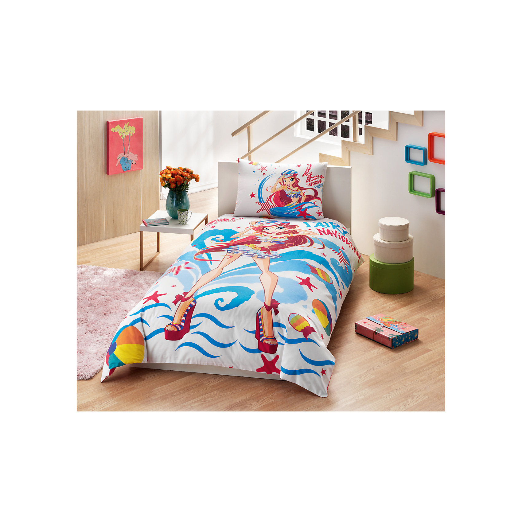Постельное белье 3 пред. Winx Bloom Ocean, Ranforce/Disney, TACДетское постельное бельё<br>Характеристики товара: <br><br>• комплектация: пододеяльник (160х220см), наволочка (50х70см), простынь (180х200см);<br>• общий размер: 1.5-спальный;<br>• материал: ранфорс (100% хлопок);<br>• цвет: белый, голубой, красный;<br>• страна бренда: Турция;<br>• страна производитель: Турция.<br><br>Это постельное бельё от турецкого бренда TAC (ТАЧ) отлично подойдёт маленькой девочке, мечтающей о собственном волшебном мире. Несмотря на плотность ткани, она состоит из мельчайших волокон, что придаёт мягкость и воздушность изделию. Все материалы, которые входят в состав этого комплекта, гипоаллергенны и не вызывают неприятных ощущений. <br><br>Постельное бельё не боится воды, так как пропускает через себя около 20% влаги и выводит наружу, поэтому её очень легко сушить. Кроме того, контроль влаги поддерживает температурный баланс тела. Благодаря специальному составу материал не электризуется и способствует улучшению сна ребёнка.<br><br> Такой комплект очень устойчив к частым стиркам, его рекомендуется стирать обычным детским мылом без отдушек.<br> Сказочный мир с персонажем «Блум» в главной роли будет всегда создавать уют и радовать ребенка.<br><br>Постельное белье Winx Bloom Ocean (Винкс Блум Оушен) можно купить в нашем интернет-магазине.<br><br>Ширина мм: 350<br>Глубина мм: 150<br>Высота мм: 150<br>Вес г: 1300<br>Возраст от месяцев: 36<br>Возраст до месяцев: 144<br>Пол: Женский<br>Возраст: Детский<br>SKU: 6849297