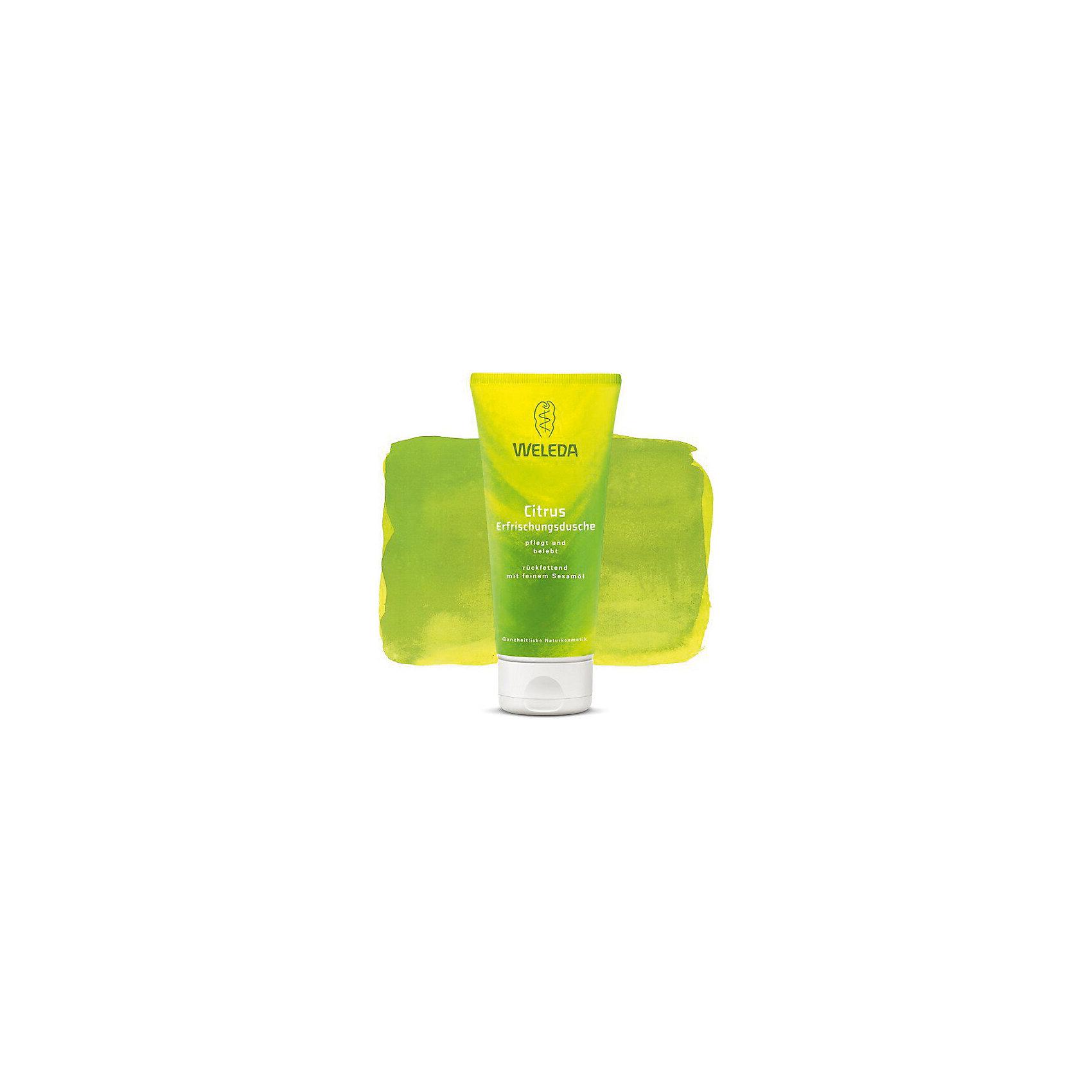 Гель для душа цитрусовый освежающий, 200 мл., WeledaСредства для ухода<br>Гель для душа цитрусовый освежающий, 200 мл., Weleda<br>Характеристики:<br><br>• Объем: 200 мл<br>• Запах: цитрусовый<br>• Содержит: кунжутное масло<br><br>Этот нежный гель для душа обладает ароматом цитрусовых. Его применение позволяет успокоиться и гармонизировать чувства, а мягкие сахарные тенсиды в составе бережно очищают кожу, делая процесс не только приятным, но и полезным. Масло кунжута сохранит естественную влажность кожи, сделав ее еще более бархатной и гладкой. Гель содержит только натуральные ароматизаторы, в нем нет красителей, консервантов и минеральных масел, что делает его безопасным для кожи.<br><br>Гель для душа цитрусовый освежающий, 200 мл., Weleda можно купить в нашем интернет-магазине.<br><br>Ширина мм: 178<br>Глубина мм: 78<br>Высота мм: 53<br>Вес г: 229<br>Возраст от месяцев: 84<br>Возраст до месяцев: 1188<br>Пол: Унисекс<br>Возраст: Детский<br>SKU: 6849501