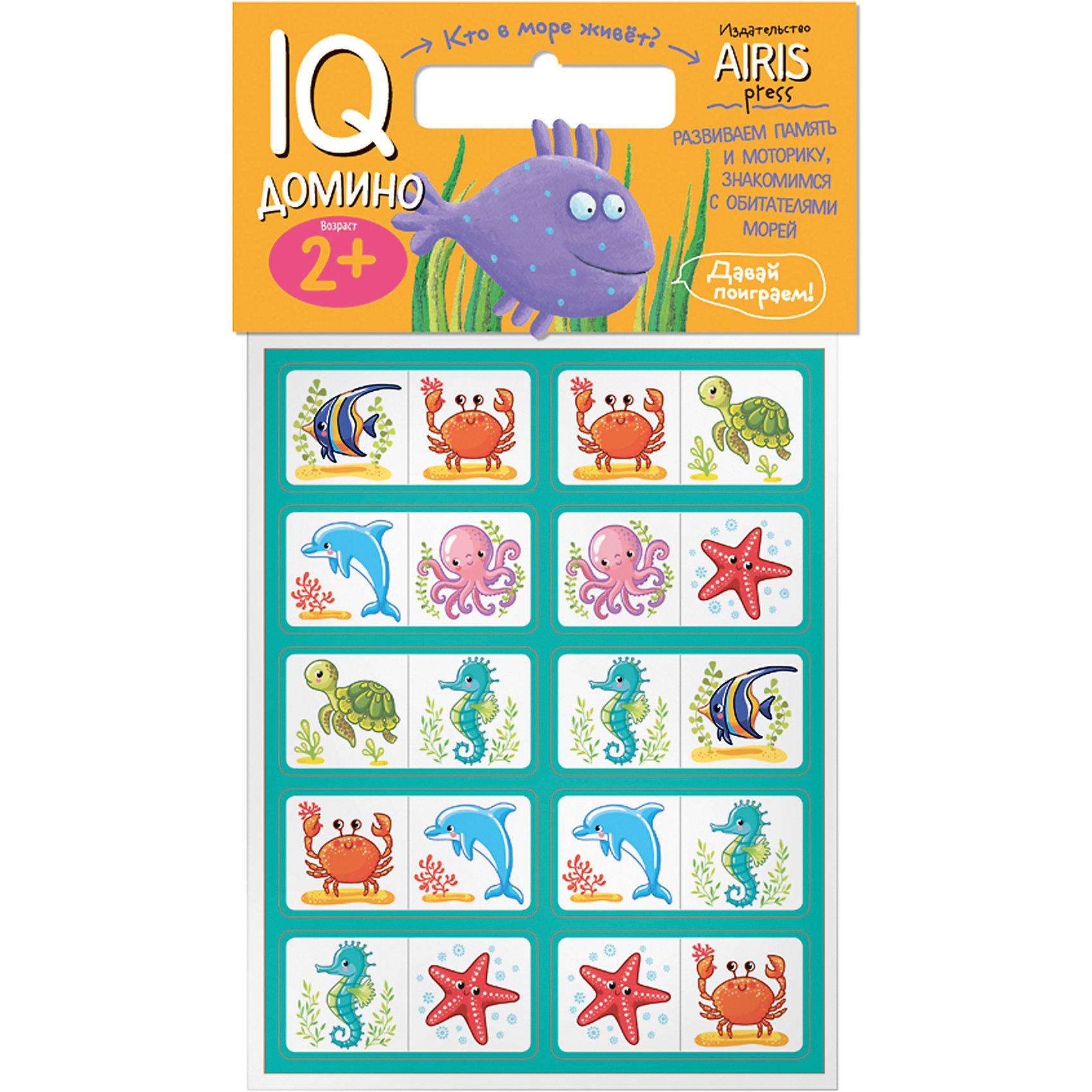 Домино Кто в море живет?Домино<br>Характеристики товара:<br><br>• возраст: от 2 лет<br>• комплектация: 20 объёмных карточек с цветным изображением морских животных<br>• автор: Куликова Е.Н.<br>• производитель: Айрис-пресс<br>• серия: IQ игры<br>• материал: EVA<br>• упаковка: пакет с хедером.<br>• размер упаковки: 22,5х17,5х2 см.<br>• вес: 66 гр.<br><br>Домино «Кто в море живёт?» – это увлекательная настольная игра для ознакомления ребёнка с обитателями морей и океанов, развития воображения, логического мышления и моторики.<br><br>Набор состоит из 20 объёмных карточек с цветным изображением морских животных. Карточки сделаны из мягкого, прочного и безопасного материала EVA. Они удобно ложатся в детскую руку, в отличие от картонных прекрасно сохраняют форму и отлично подходят для настольных познавательных игр.<br><br>Цель игры - разместить картинки друг за другом по принципу «одинаковые животные» (рыба - рыба, морская звезда - морская звезда и т.д.). Ребёнок может играть один или привлечь к игре несколько участников. В этом случае победителем становится тот, кто первым разложит все свои карточки.<br><br>На упаковке набора дано описание игр с мягкими карточками-фишками.<br><br>Домино Кто в море живет? можно купить в нашем интернет-магазине.<br><br>Ширина мм: 20<br>Глубина мм: 175<br>Высота мм: 225<br>Вес г: 66<br>Возраст от месяцев: 24<br>Возраст до месяцев: 36<br>Пол: Унисекс<br>Возраст: Детский<br>SKU: 6849517