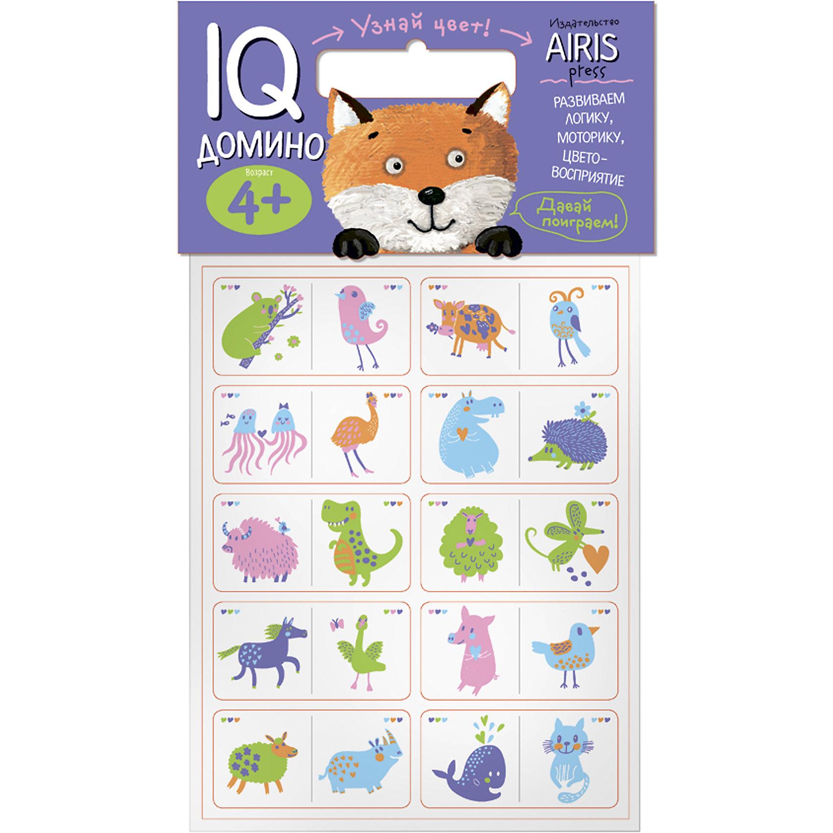Домино Узнай цветДомино<br>Характеристики товара:<br><br>• возраст: от 4 лет<br>• комплектация: 20 объёмных карточек с цветным изображением животных<br>• автор: Куликова Е.Н.<br>• производитель: Айрис-пресс<br>• серия: IQ игры<br>• материал: EVA<br>• упаковка: пакет с хедером.<br>• размер упаковки: 22,5х17,5х2 см.<br>• вес: 66 гр.<br><br>Домино «Узнай цвет!» – это увлекательная настольная игра для тренировки способности ребёнка к восприятию цвета и цветовых сочетаний, развития воображения, логического мышления и моторики.<br><br>Набор состоит из 20 объёмных карточек с цветным изображением животных. Карточки сделаны из мягкого, прочного и безопасного материала EVA. Они удобно ложатся в детскую руку, в отличие от картонных прекрасно сохраняют форму и отлично подходят для настольных познавательных игр.<br><br>Цель игры - правильно разместить картинки друг за другом. Ребёнок может играть один или привлечь к игре несколько участников. В этом случае победителем становится тот, кто первым разложит все свои карточки.<br><br>На упаковке набора даётся описание, как играть с мягкими карточками-фишками.<br><br>Домино Узнай цвет можно купить в нашем интернет-магазине.<br><br>Ширина мм: 20<br>Глубина мм: 175<br>Высота мм: 225<br>Вес г: 66<br>Возраст от месяцев: 48<br>Возраст до месяцев: 72<br>Пол: Унисекс<br>Возраст: Детский<br>SKU: 6849519