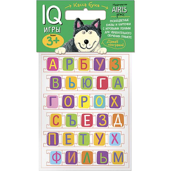 Касса букв с игровыми полямиАзбуки<br>Характеристики товара:<br><br>• возраст: от 3 лет<br>• комплектация:  касса букв, листы с заданиями-игровыми полями<br>• производитель: Айрис-пресс<br>• серия: IQ игры<br>• материал: EVA, картон<br>• упаковка: пакет с хедером.<br>• размер упаковки: 22,5х17,5х2 см.<br>• вес: 91 гр.<br><br>Касса букв с игровыми листами предназначена для обучения детей грамоте. С его помощью можно проводить всевозможные развивающие игры, в ходе которых малыш познакомится с буквами русского языка, научится узнавать и запоминать графический образ буквы, составлять из букв слоги и слова, начнёт осваивать первые навыки чтения.<br><br>Буквы из мягкого материала, выполненные в виде пазлов, удобно держать в руках, они не сминаются и не пачкаются. Материал более долговечен, чем картон. Хорошо подходит для развивающих игр.<br><br>Для активизации и закрепления знаний в наборе приложены рабочие листы - игровые поля, на которых дети сами могут выполнить увлекательные задания.<br><br>Кассу букв с игровыми полями можно купить в нашем интернет-магазине.<br><br>Ширина мм: 20<br>Глубина мм: 175<br>Высота мм: 225<br>Вес г: 91<br>Возраст от месяцев: 48<br>Возраст до месяцев: 72<br>Пол: Унисекс<br>Возраст: Детский<br>SKU: 6849521