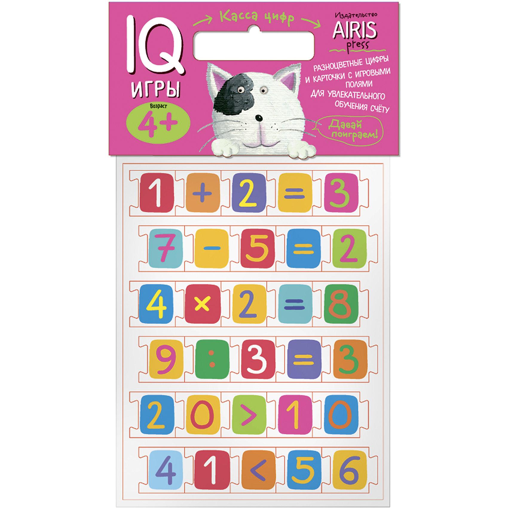 Касса цифр с игровыми полямиКасса цифр<br>Характеристики товара:<br><br>• возраст: от 4 лет<br>• комплектация:  касса цифр и математических знаков (выполненных в виде пазлов), листы с заданиями-игровыми полями<br>• производитель: Айрис-пресс<br>• серия: IQ игры<br>• материал: EVA, картон<br>• упаковка: пакет с хедером.<br>• размер упаковки: 22,5х17,5х2 см.<br>• вес: 91 гр.<br><br>Касса цифр с игровыми листами предназначена для обучения детей счёту. С его помощью можно проводить всевозможные развивающие игры, в ходе которых малыш познакомится с  цифрами и математическими знаками, научится считать и сравнивать, подбирать числа и математические выражения к картинкам.<br><br>Для активизации и закрепления знаний в наборе приложены рабочие листы - игровые поля, на которых дети сами могут  выполнить увлекательные задания.<br><br>Кассу цифр с игровыми полями можно купить в нашем интернет-магазине.<br><br>Ширина мм: 20<br>Глубина мм: 175<br>Высота мм: 225<br>Вес г: 91<br>Возраст от месяцев: 48<br>Возраст до месяцев: 72<br>Пол: Унисекс<br>Возраст: Детский<br>SKU: 6849522