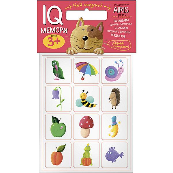 Мемори Чей силуэт?Игры мемо<br>Характеристики товара:<br><br>• возраст: от 3 лет<br>• комплектация: 24 объёмных карточек с цветными рисунками<br>• автор: Куликова Е.Н.<br>• производитель: Айрис-пресс<br>• серия: IQ игры<br>• материал: EVA<br>• размер карточки: 5х5 см.<br>• упаковка: пакет с хедером<br>• размер упаковки: 22,5х17,5х2 см.<br>• вес: 66 гр.<br><br>Мемори «Чей силуэт?» – это увлекательная настольная игра для развития способности ребёнка узнавать силуэты предметов, тренировки его памяти и моторики.<br><br>Набор состоит из 24 объёмных карточек с цветными рисунками. Карточки изготовлены из мягкого, прочного и безопасного материала EVA. Они удобно ложатся в детскую ручку и отлично подходят для познавательных игр.<br><br>Цель игры  — собрать как можно больше парных карточек по принципу «предмет и его силуэт». В игре принимают участие несколько человек. Победителем становится тот, кто  собрал больше парных карточек.<br><br>На упаковке набора даётся описание, как играть с мягкими карточками.<br><br>Игру Мемори Чей силуэт? можно купить в нашем интернет-магазине.<br>Ширина мм: 20; Глубина мм: 175; Высота мм: 225; Вес г: 66; Возраст от месяцев: 36; Возраст до месяцев: 60; Пол: Унисекс; Возраст: Детский; SKU: 6849523;