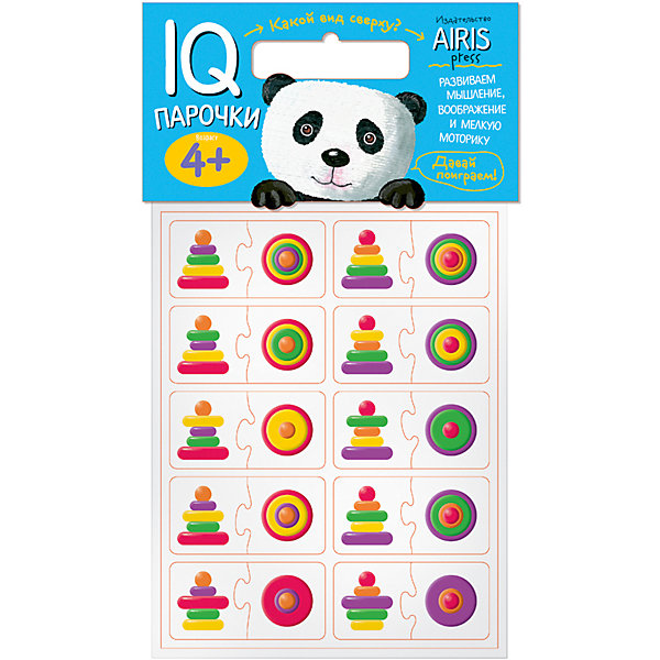 Парочки Какой вид сверху?Книги для развития мышления<br>Характеристики товара:<br><br>• возраст: от 4 лет<br>• комплектация: 40 объёмных карточек, на которых изображены разноцветные пирамидки<br>• автор: Куликова Е.Н.<br>• производитель: Айрис-пресс<br>• серия: IQ игры<br>• материал: EVA<br>• упаковка: пакет с хедером<br>• размер упаковки: 22,5х17,5х2 см.<br>• вес: 66 гр.<br><br>Парочки «Какой вид сверху?» – это увлекательная настольная игра для развития пространственного  мышления, воображения и моторики ребёнка.<br><br>Набор состоит из 40 объёмных карточек, на которых изображены разноцветные пирамидки. Карточки сделаны из мягкого, прочного и безопасного материала EVA. Они удобно ложатся в детскую ручку и отлично подходят для познавательных игр.<br><br>Цель игры: составить пару «пирамидка — её вид сверху». Карточки снабжены пазловыми замками для того, чтобы ребёнок мог самостоятельно оценить правильность выполнения заданий.<br><br>На упаковке набора даётся описание, как играть с мягкими карточками.<br><br>Игру Парочки Какой вид сверху? можно купить в нашем интернет-магазине.<br>Ширина мм: 20; Глубина мм: 175; Высота мм: 225; Вес г: 66; Возраст от месяцев: 48; Возраст до месяцев: 72; Пол: Унисекс; Возраст: Детский; SKU: 6849525;