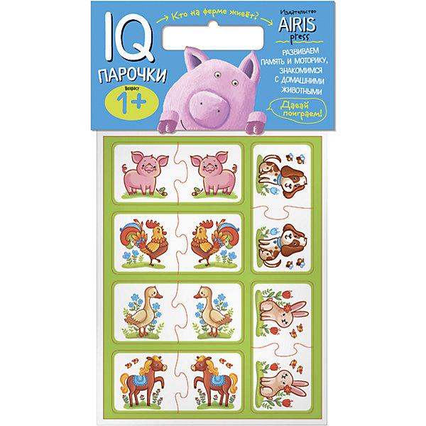 Парочки Кто на ферме живет?Книги для развития мышления<br>Характеристики товара:<br><br>• возраст: от 1 года<br>• комплектация: 24 объёмных карточек с цветным изображением животных<br>• автор: Куликова Е.Н.<br>• производитель: Айрис-пресс<br>• серия: IQ игры<br>• размер карточки: 5х5 см.<br>• материал: EVA<br>• упаковка: пакет с хедером<br>• размер упаковки: 22,5х17,5х2 см.<br>• вес: 66 гр.<br><br>Парочки «Кто на ферме живёт?» – это увлекательная настольная игра для развития воображения и моторики ребёнка, его ознакомления с домашними животными.<br><br>Набор состоит из 24 объёмных карточек с цветным изображением животных. Карточки сделаны из мягкого, прочного и безопасного материала EVA. Они удобно ложатся в детскую руку и отлично подходят для познавательных игр.<br><br>Цель игры: составить пару одинаковых животных: кролик - кролик, петух -петух и т.д. Карточки снабжены пазловыми замками для того, чтобы ребёнок мог самостоятельно оценить правильность выполнения заданий.<br><br>На упаковке набора дано описание игр с мягкими карточками.<br><br>Игру Парочки Кто на ферме живет? можно купить в нашем интернет-магазине.<br>Ширина мм: 20; Глубина мм: 175; Высота мм: 225; Вес г: 66; Возраст от месяцев: 12; Возраст до месяцев: 36; Пол: Унисекс; Возраст: Детский; SKU: 6849526;