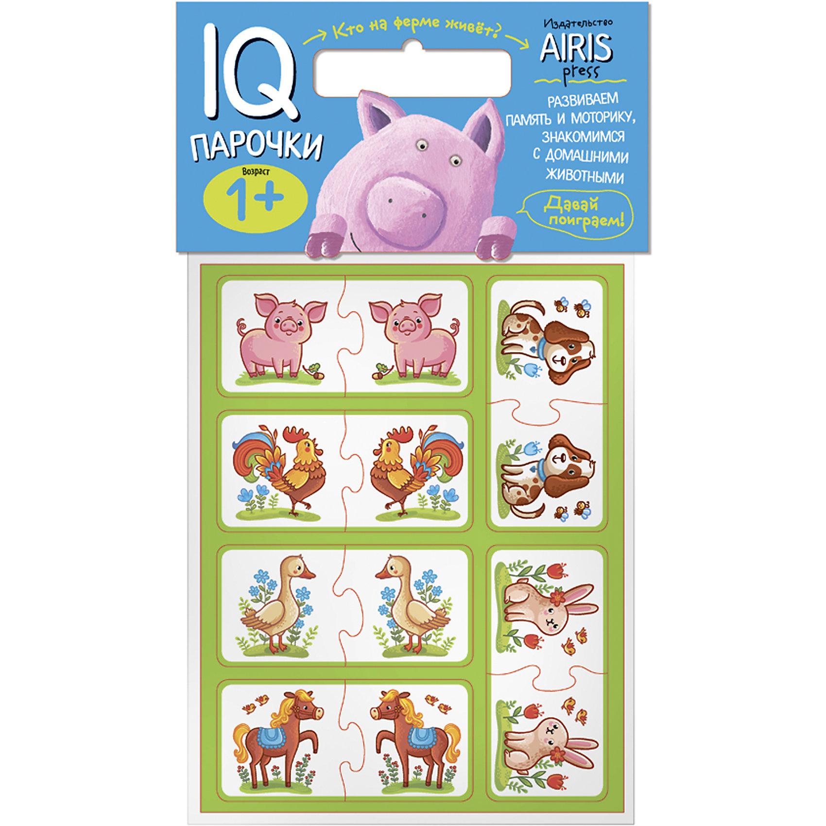 Парочки Кто на ферме живет?Книги для развития мышления<br>Характеристики товара:<br><br>• возраст: от 1 года<br>• комплектация: 24 объёмных карточек с цветным изображением животных<br>• автор: Куликова Е.Н.<br>• производитель: Айрис-пресс<br>• серия: IQ игры<br>• размер карточки: 5х5 см.<br>• материал: EVA<br>• упаковка: пакет с хедером<br>• размер упаковки: 22,5х17,5х2 см.<br>• вес: 66 гр.<br><br>Парочки «Кто на ферме живёт?» – это увлекательная настольная игра для развития воображения и моторики ребёнка, его ознакомления с домашними животными.<br><br>Набор состоит из 24 объёмных карточек с цветным изображением животных. Карточки сделаны из мягкого, прочного и безопасного материала EVA. Они удобно ложатся в детскую руку и отлично подходят для познавательных игр.<br><br>Цель игры: составить пару одинаковых животных: кролик - кролик, петух -петух и т.д. Карточки снабжены пазловыми замками для того, чтобы ребёнок мог самостоятельно оценить правильность выполнения заданий.<br><br>На упаковке набора дано описание игр с мягкими карточками.<br><br>Игру Парочки Кто на ферме живет? можно купить в нашем интернет-магазине.<br><br>Ширина мм: 20<br>Глубина мм: 175<br>Высота мм: 225<br>Вес г: 66<br>Возраст от месяцев: 12<br>Возраст до месяцев: 36<br>Пол: Унисекс<br>Возраст: Детский<br>SKU: 6849526