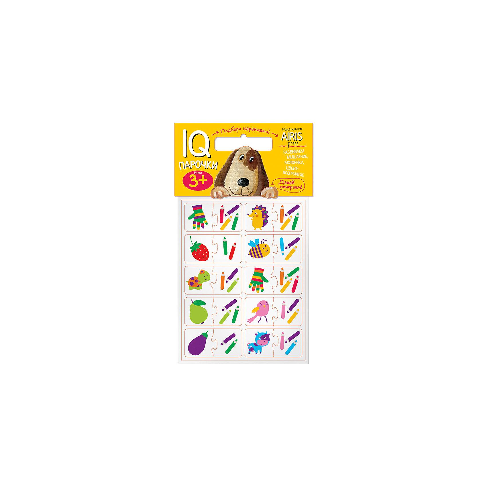 Парочки Подбери карандашиКниги для развития мышления<br>IQ-Парочки «Подбери карандаши!» – это увлекательная настольная игра для тренировки способности ребёнка к восприятию цвета и цветовых сочетаний, развития воображения, логики и моторики. Набор состоит из 40 объёмных карточек, на которых изображены предметы и карандаши. Карточки сделаны из мягкого, прочного и безопасного материала EVA. Они удобно ложатся в детскую ручку и отлично подходят для познавательных игр.&#13;<br>Цель игры: составить пару предмет — карандаши, которыми он нарисован. Карточки снабжены пазловыми замками для того, чтобы ребёнок мог самостоятельно оценить правильность выполнения заданий.&#13;<br>На упаковке набора даётся описание, как играть с мягкими карточками.&#13;<br>Предназначен для детей от 3 лет.<br><br>Ширина мм: 20<br>Глубина мм: 175<br>Высота мм: 225<br>Вес г: 66<br>Возраст от месяцев: 36<br>Возраст до месяцев: 48<br>Пол: Унисекс<br>Возраст: Детский<br>SKU: 6849527