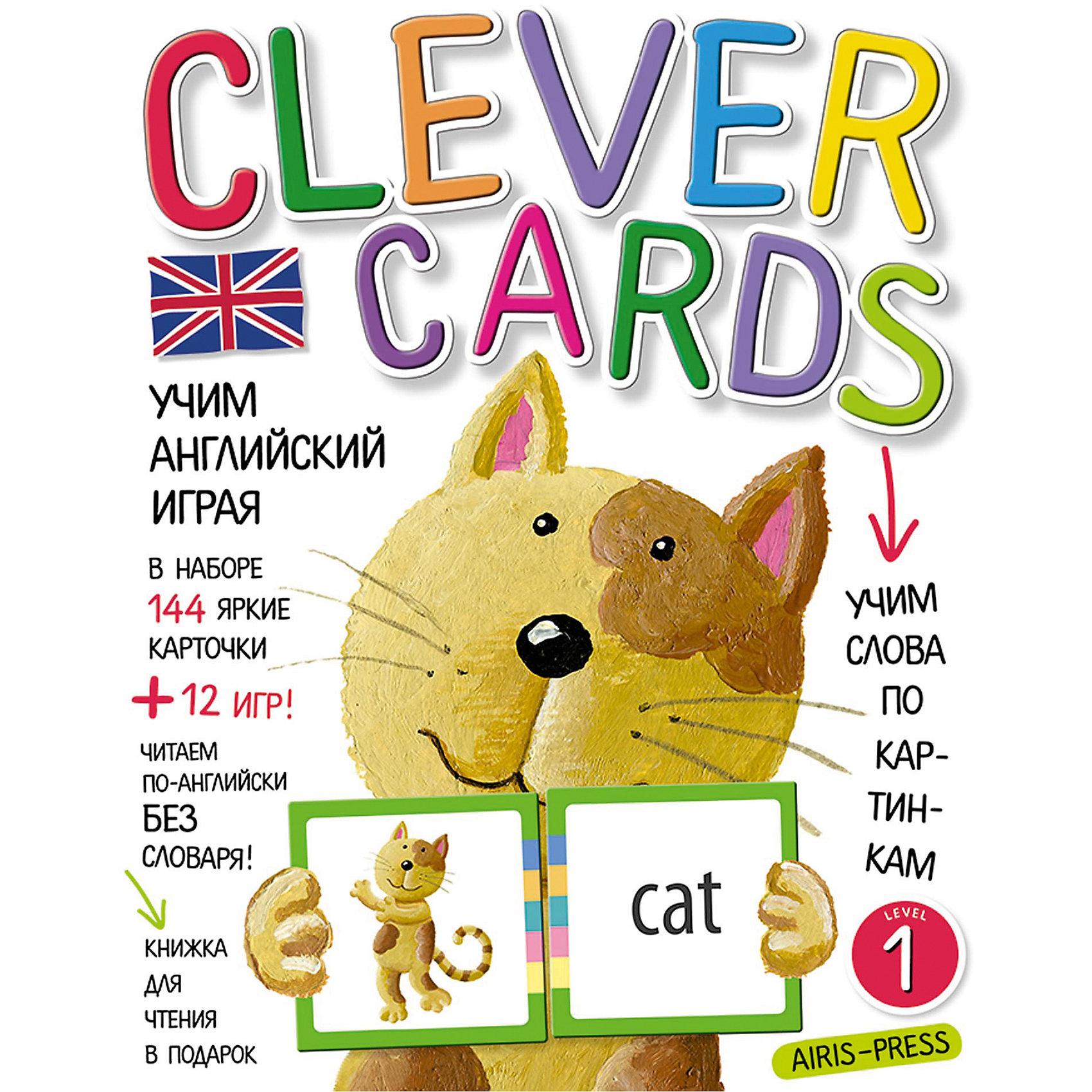 """Учим английский играя, уровень 1АЙРИС-пресс<br>Набор игровых карточек """"Clever Cards. Level 1"""" поможет детям быстро и незаметно для себя освоить значительную часть лексики начальной школы. А еще даст возможность читать английские тексты без словаря! Кроме того, в наборе вы найдёте сборник с методическими рекомендациями, который поможет вам правильно организовать обучающие игры. Книжку со сказкой """"The Cat and the Mouse"""" мы вам дарим! Попробуйте прочитать её, не пользуясь словарем в конце книжки.<br><br>Ширина мм: 15<br>Глубина мм: 170<br>Высота мм: 220<br>Вес г: 250<br>Возраст от месяцев: -2147483648<br>Возраст до месяцев: 2147483647<br>Пол: Унисекс<br>Возраст: Детский<br>SKU: 6849552"""