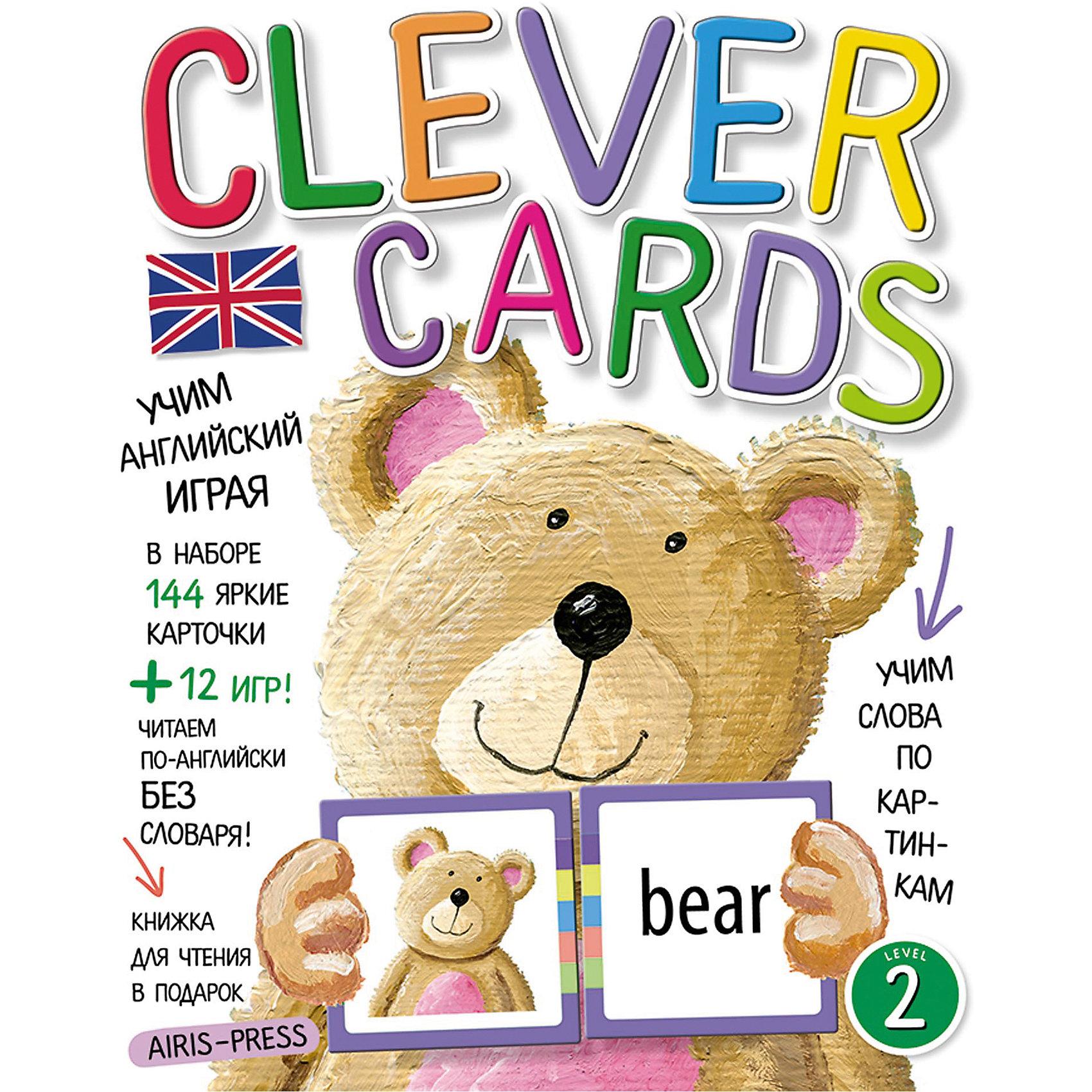 """Учим английский играя, уровень 2АЙРИС-пресс<br>Набор игровых карточек """"Clever Cards. Level 2"""" поможет детям быстро и незаметно для себя освоить значительную часть лексики начальной школы. А еще даст возможность читать английские тексты без словаря! Кроме того, в наборе вы найдёте сборник с методическими рекомендациями, который поможет вам правильно организовать обучающие игры. Книжку со сказкой """"Goldilocks and the Three Bears"""" мы вам дарим! Попробуйте прочитать её, не пользуясь словарем в конце книжки.<br><br>Ширина мм: 15<br>Глубина мм: 170<br>Высота мм: 220<br>Вес г: 250<br>Возраст от месяцев: -2147483648<br>Возраст до месяцев: 2147483647<br>Пол: Унисекс<br>Возраст: Детский<br>SKU: 6849553"""