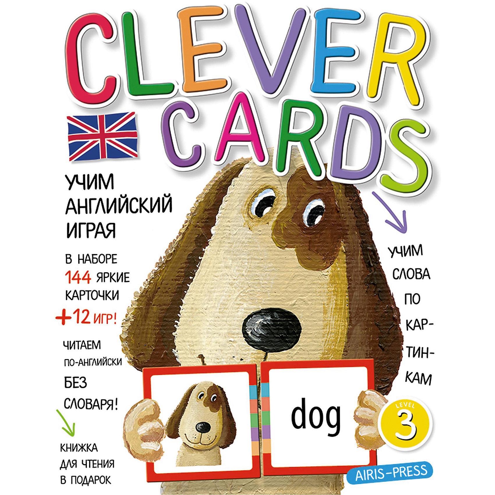 """Учим английский играя, уровень 3Иностранный язык<br>Набор игровых карточек """"Clever Cards. Level 3"""" поможет детям быстро и незаметно для себя освоить значительную часть лексики начальной школы. А еще даст возможность читать английские тексты без словаря! Кроме того, в наборе вы найдёте сборник с методическими рекомендациями, который поможет вам правильно организовать обучающие игры. Книжку со сказкой """"Beauty and the Beast"""" мы вам дарим! Попробуйте прочитать её, не пользуясь словарем в конце книжки.<br><br>Ширина мм: 15<br>Глубина мм: 170<br>Высота мм: 220<br>Вес г: 250<br>Возраст от месяцев: -2147483648<br>Возраст до месяцев: 2147483647<br>Пол: Унисекс<br>Возраст: Детский<br>SKU: 6849554"""