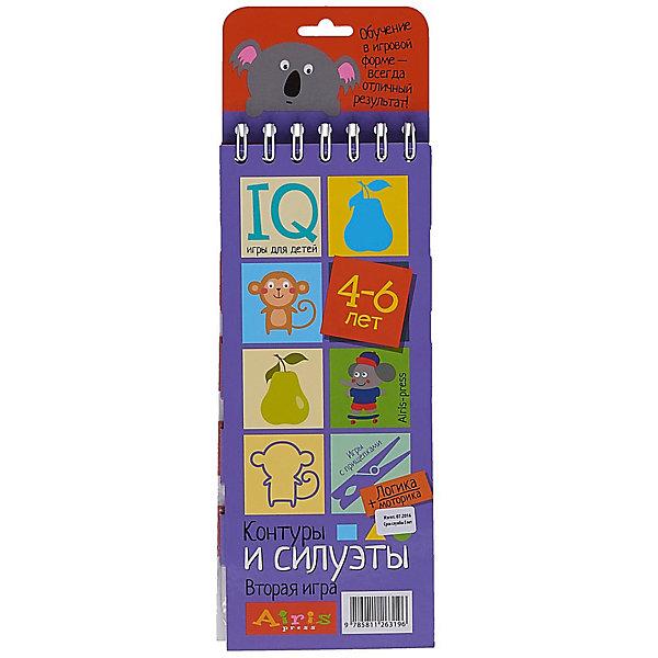 Игры с прищепками Контуры и силуэтыКниги для развития мышления<br>Характеристики товара:<br><br>• возраст: от 4 лет<br>• комплектация: блокнот на пружине, состоящий из 30 картонных карточек; 8 разноцветных прищепок.<br>• производитель: Айрис-пресс<br>• серия: IQ игры<br>• иллюстрации: цветные<br>• размер блокнота: 23,5х9,5х1,5 см.<br>• размер прищепки: 3,5х0,5х1 см.<br><br>«Контуры и силуэты» – это игровой комплект для развития логического мышления и моторики.<br><br>Комплект представляет собой небольшой блокнот на пружине, состоящий из 30 картонных карточек, и 8 разноцветных прищепок.<br><br>На красочных станицах блокнота в два столбика расположены карточки с рисунками. У каждой карточки есть своя логическая пара. Задача ребенка – найти парные картинки и прикрепить к ним прищепки одного цвета, располагая их в округлых прорезях с боков карточек. Когда все задания на страничке выполнены, ребенок может самостоятельно проверить правильность решения. Для этого нужно перевернуть страницу и провести пальчиком по лабиринту на обратной стороне. Если линия соединяет прищепки одного цвета, значит задание выполнено, правильно.<br><br>Выполняя задания на карточках, ребёнок тренирует внимание и  наблюдательность, развивает образно-пространственное мышление, зрительное восприятие и воображение. Прикрепляя прищепки и проходя лабиринты, он развивает моторику и координацию движений.<br><br>Простота и удобство комплекта позволяют использовать его в детском саду, дома и на отдыхе.<br><br>Игры с прищепками Контуры и силуэты можно купить в нашем интернет-магазине.<br>Ширина мм: 15; Глубина мм: 95; Высота мм: 240; Вес г: 138; Возраст от месяцев: 48; Возраст до месяцев: 72; Пол: Унисекс; Возраст: Детский; SKU: 6849560;